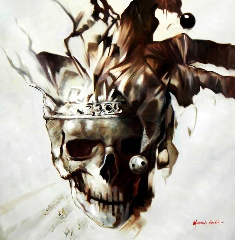 modern art joker skull h95622 90x90cm exquisites gem lde. Black Bedroom Furniture Sets. Home Design Ideas