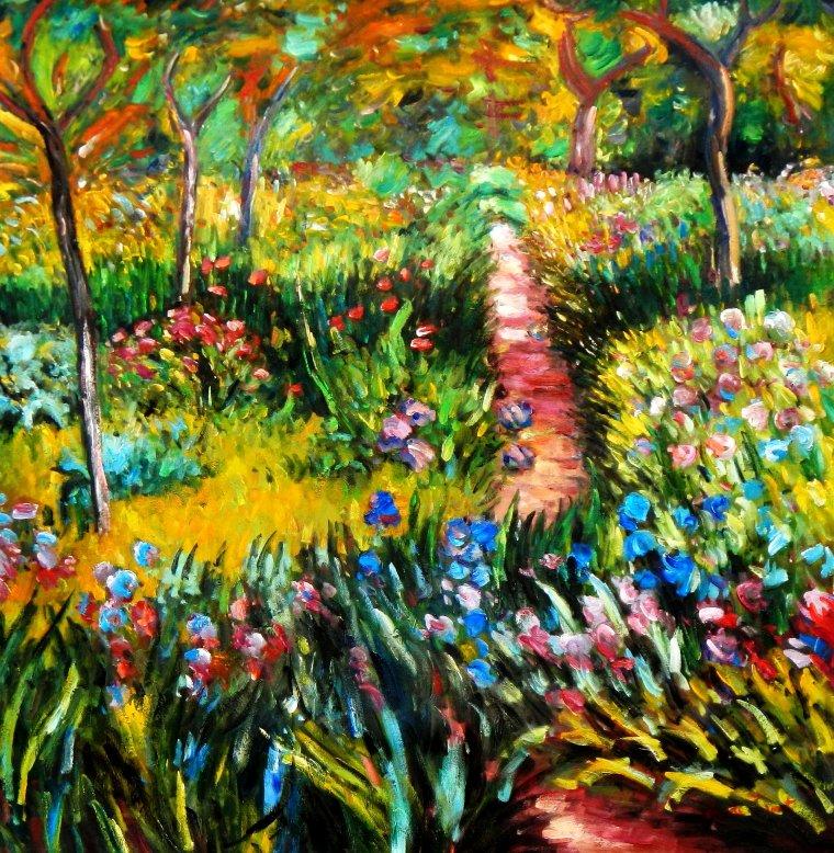 Claude Monet - Monet´s Garten in Giverny h95627 90x90cm exzellentes Ölgemälde
