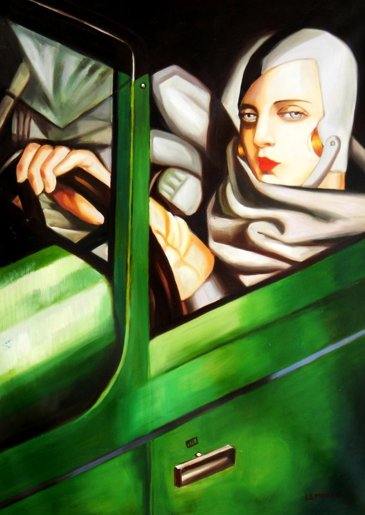Homage of T. de Lempicka - Tamara im grünen Bugatti i95629 80x110cm Ölbild handgemalt