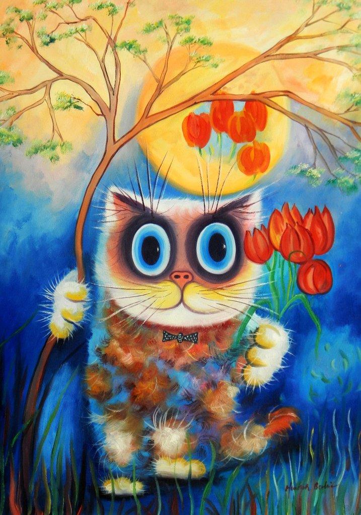 Modern Art - Stonie die Katze i95631 80x110cm exzellentes Ölgemälde