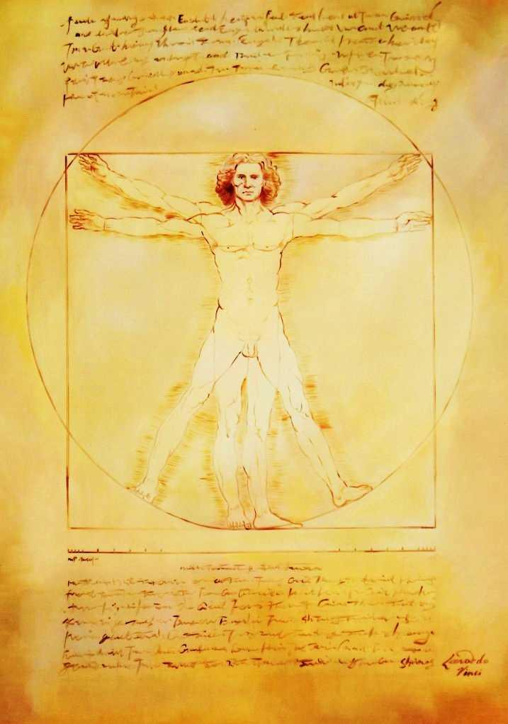 Leonardo da Vinci - Proportionsstudie i95632 80x110cm handgemaltes Ölgemälde