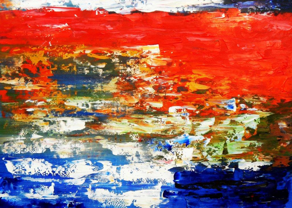 Abstrakt - Dynamische Textur i95653 80x110cm fantastisches Ölbild