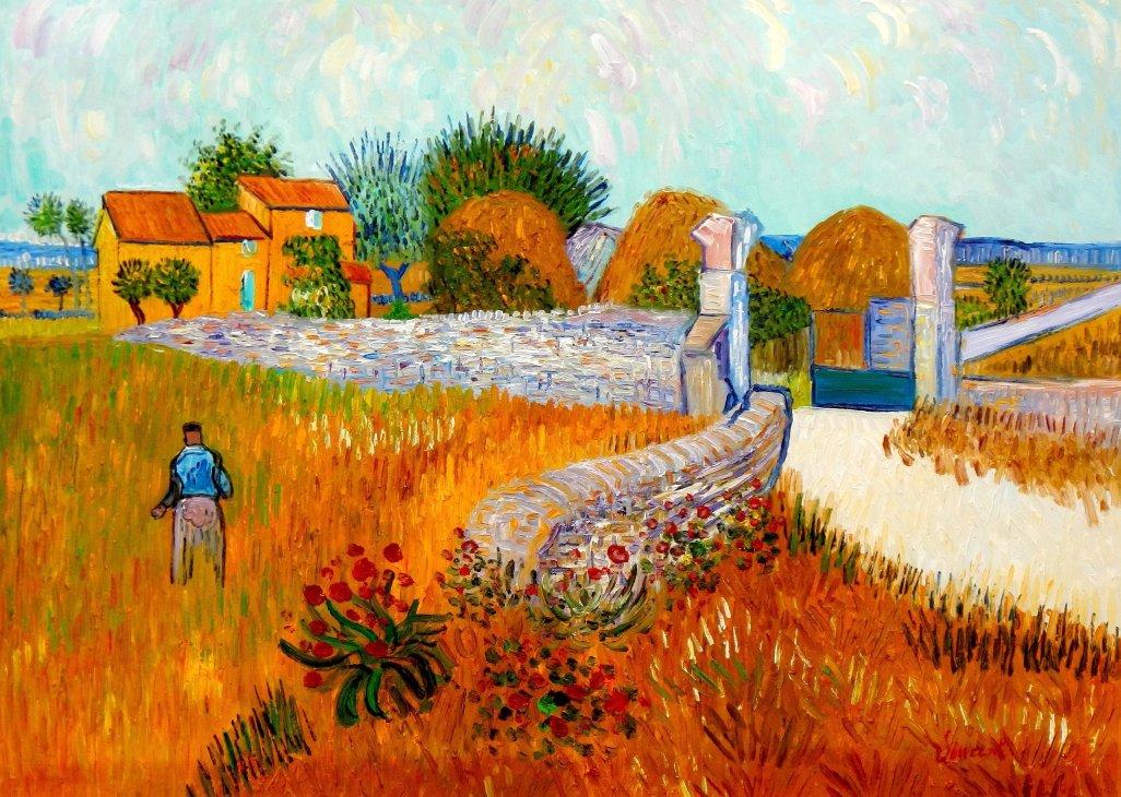 Vincent van Gogh - Bauernhaus in der Provinz i95657 80x110cm Ölbild handgemalt