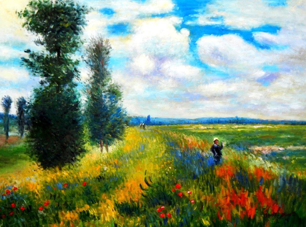 Claude Monet - Mohnblumenfeld bei Argenteuil k95665 90x120cm Ölbild handgemalt