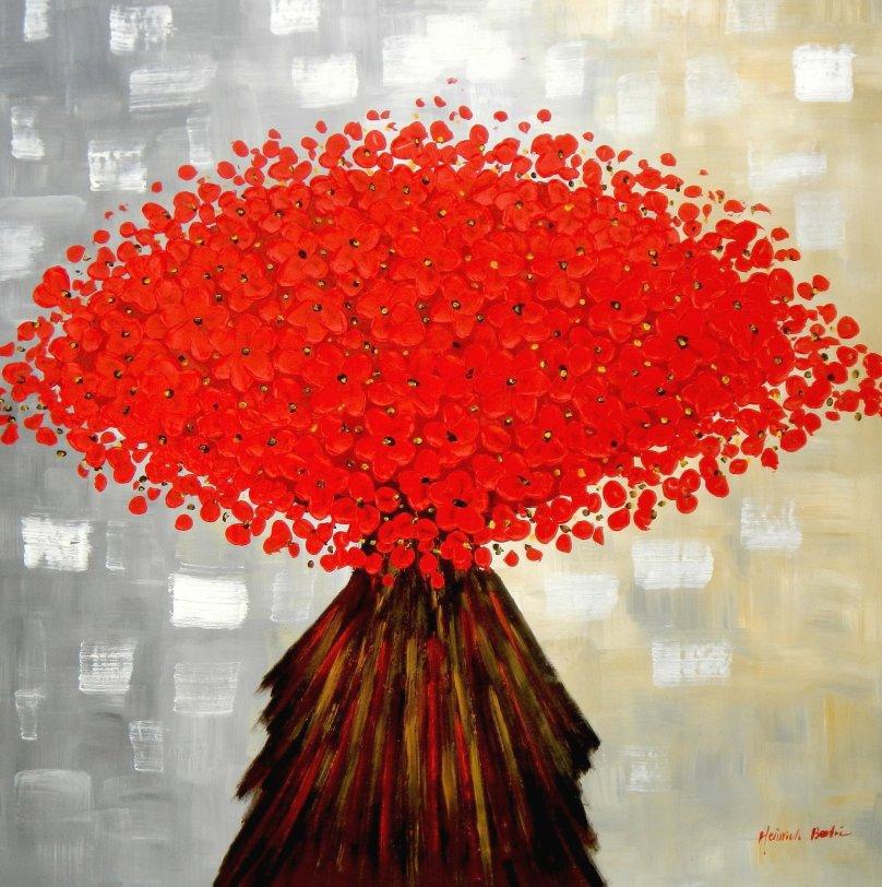 Modern Art - Abstrakte rote Blumen m95683 120x120cm Ölbild handgemalt