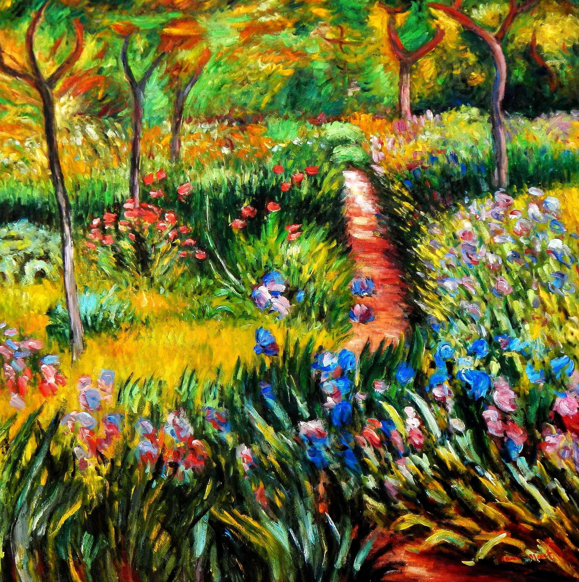Claude Monet - Monet´s Garten in Giverny m95684 120x120cm exzellentes Ölgemälde