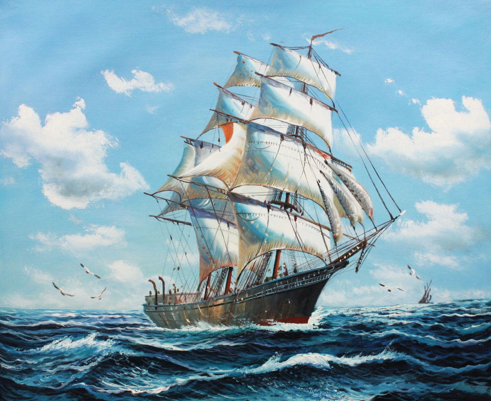 Segelschiff auf stürmischer See c96509 50x60cm imposantes Ölgemälde