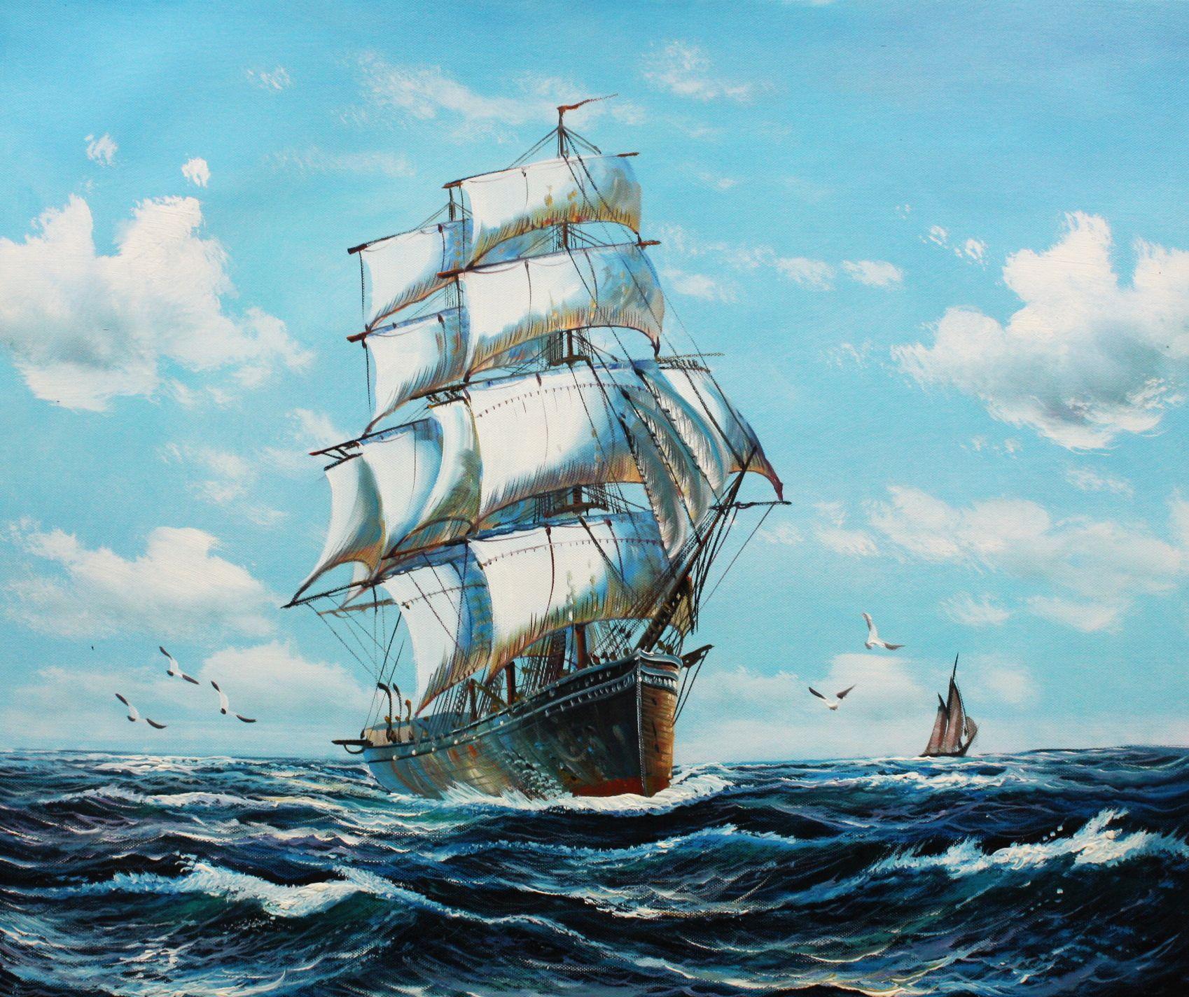 Segelschiff auf stürmischer See c96511 50x60cm imposantes Ölgemälde