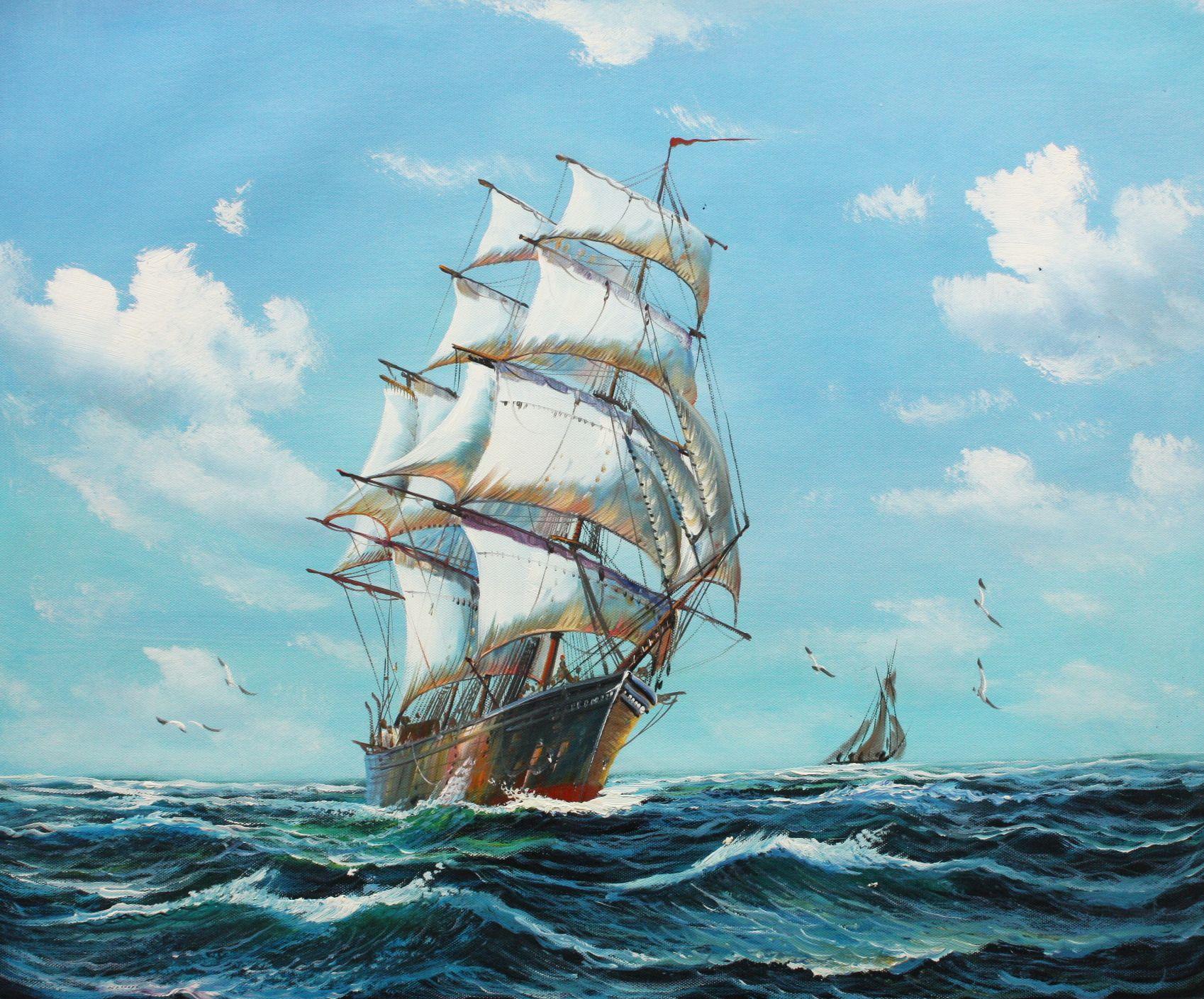 Segelschiff auf stürmischer See c96516 50x60cm imposantes Ölgemälde