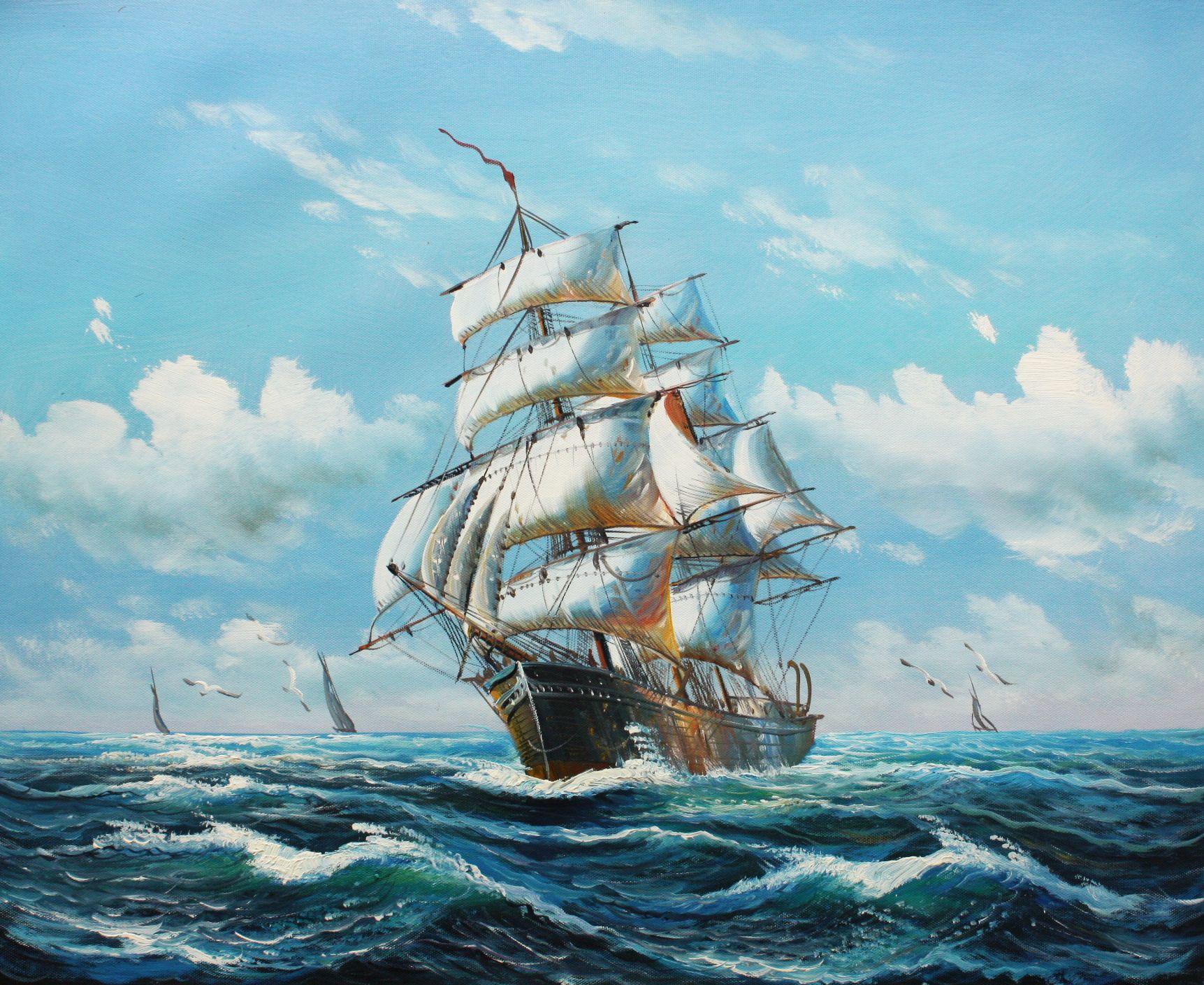Segelschiff auf stürmischer See c96517 50x60cm imposantes Ölgemälde