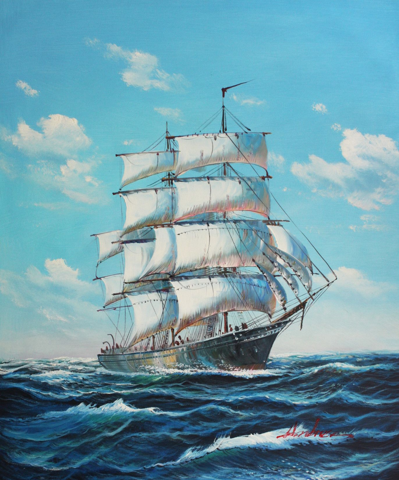 Segelschiff auf stürmischer See c96523 50x60cm imposantes Ölgemälde