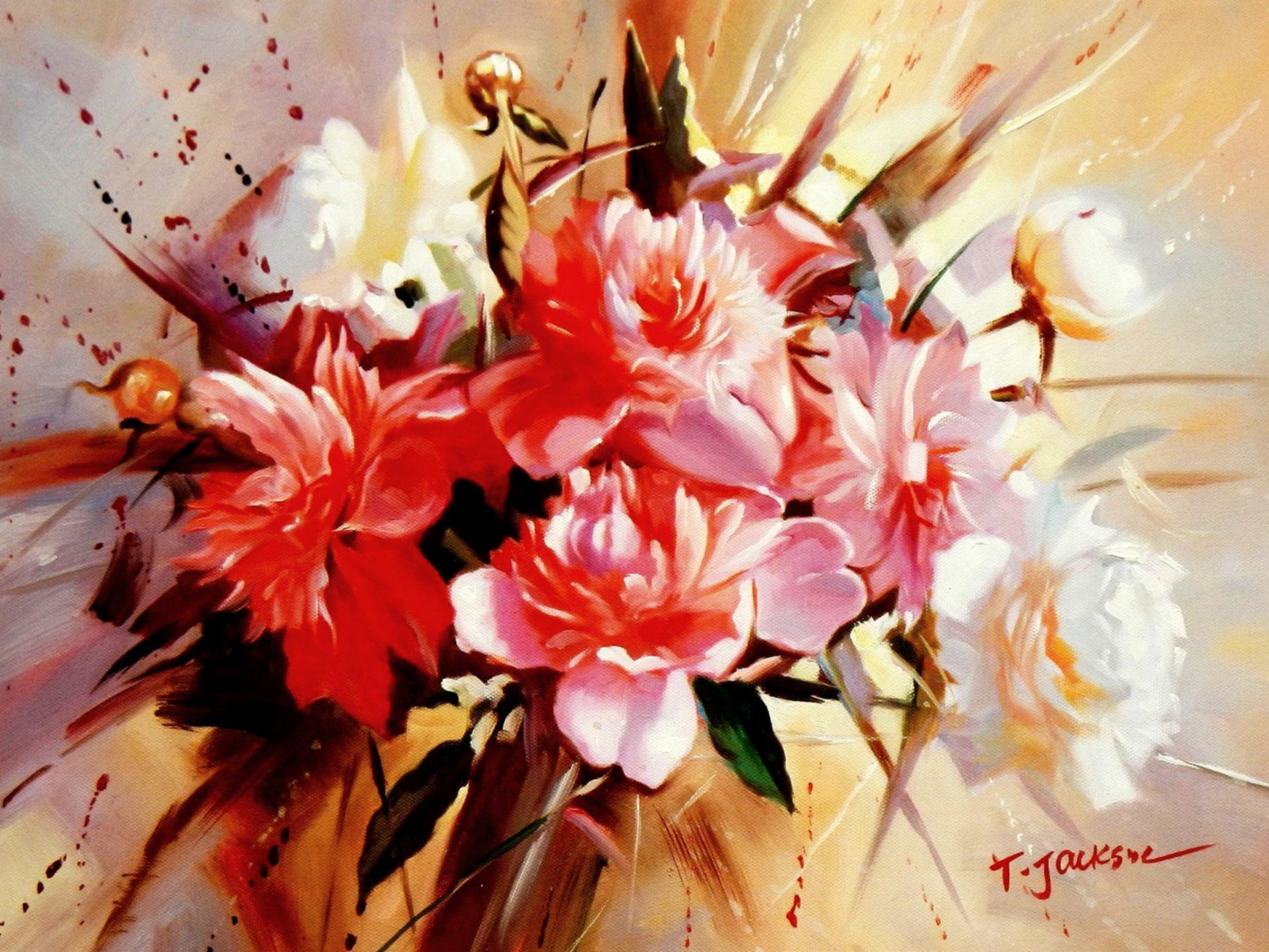 Modern Art - Das Blumenfest a94526 30x40cm handgemaltes Gemälde