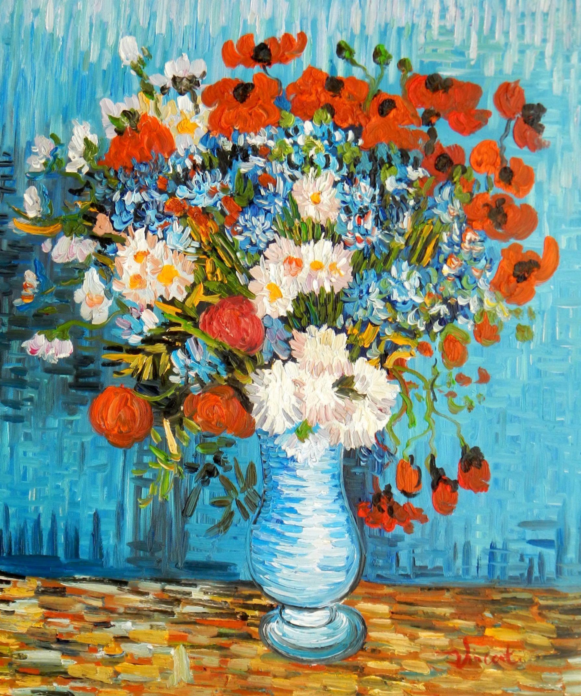 Vincent van Gogh - Vase mit Kornblumen und Mohnblumen c94551 50x60cm Ölbild handgemalt