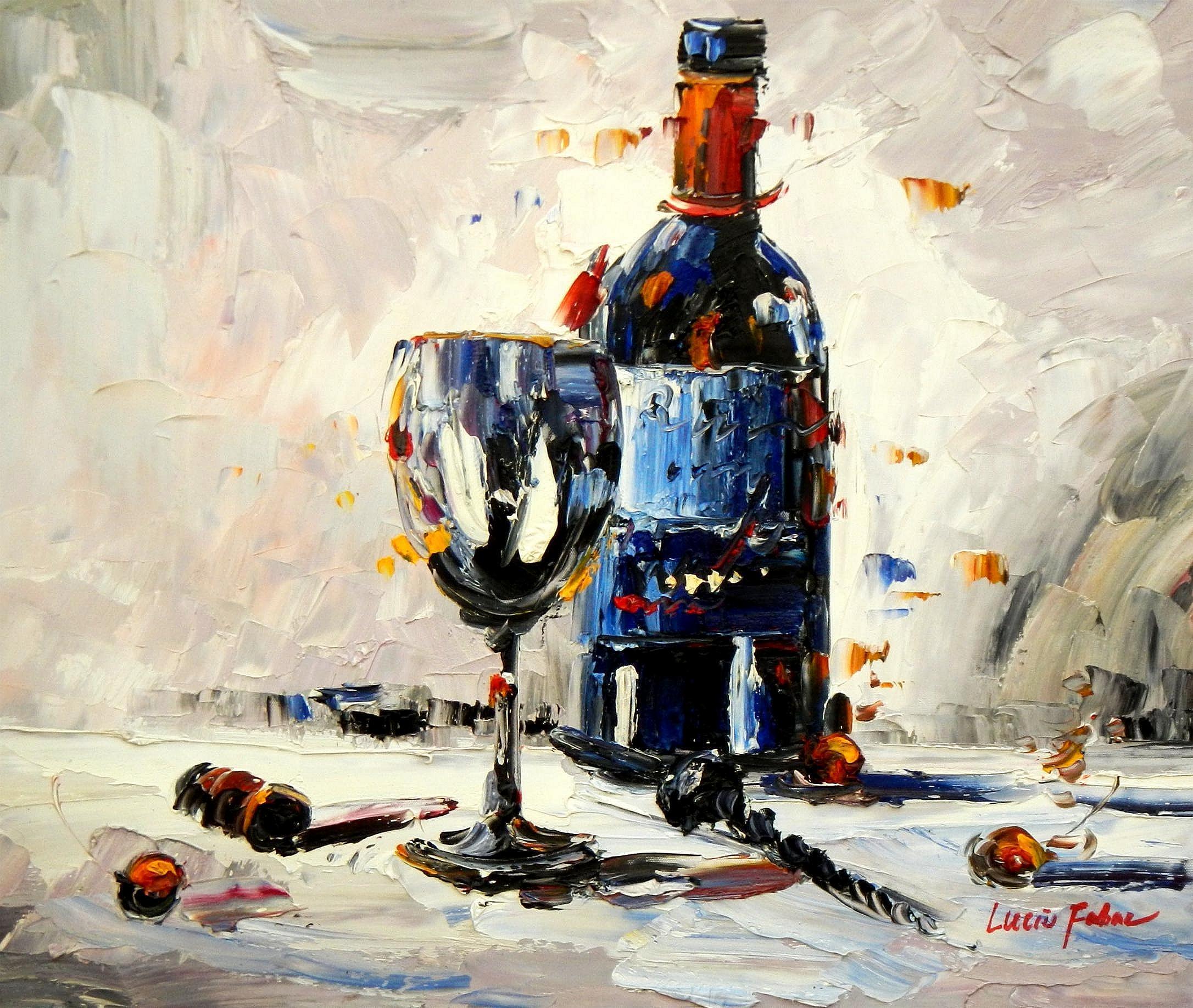 Abstrakt - Stillleben mit Weinflasche c94560 50x60cm exzellentes Ölbild