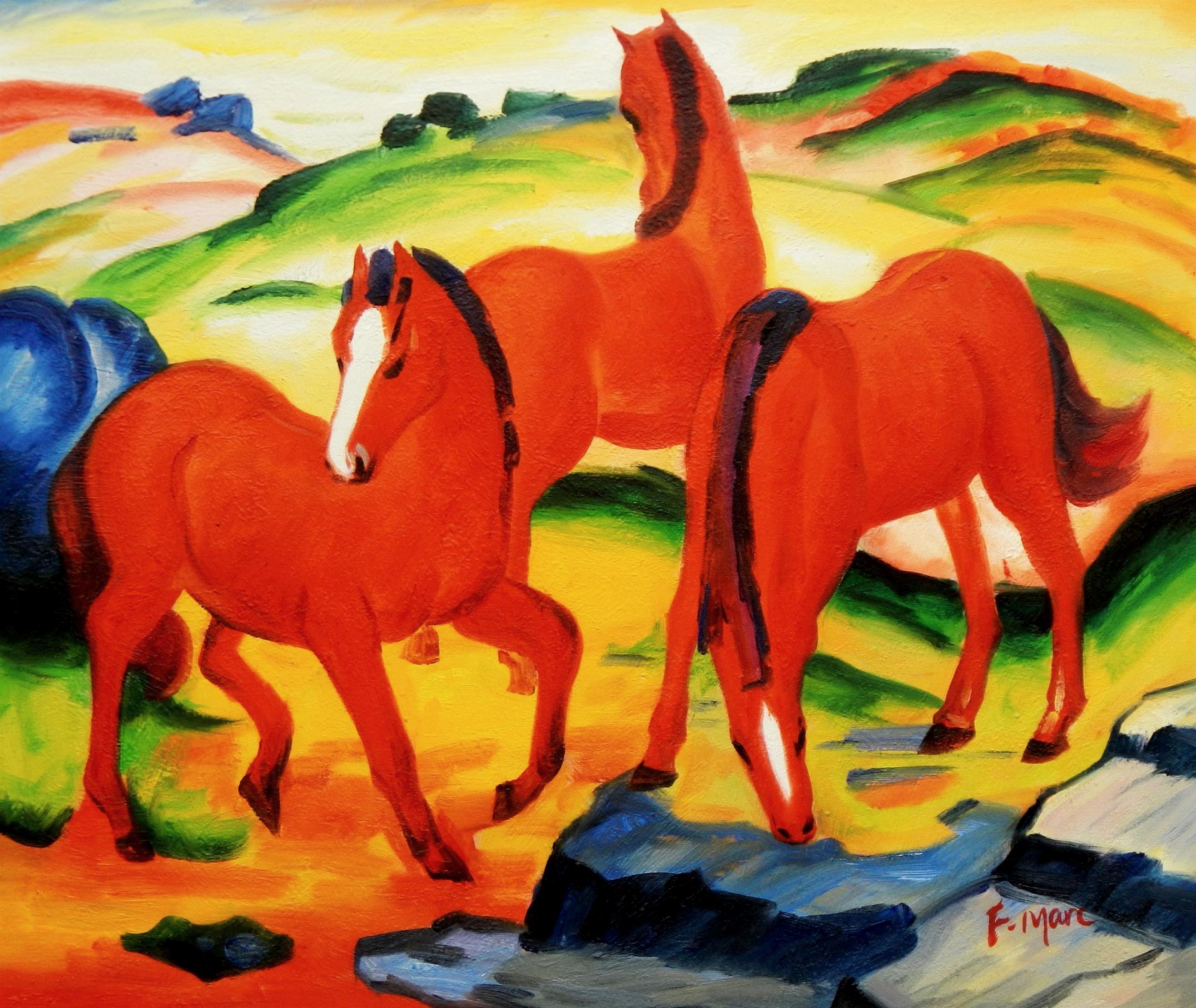 Franz Marc - Weidende Pferde c94566 50x60cm Ölgemälde handgemalt