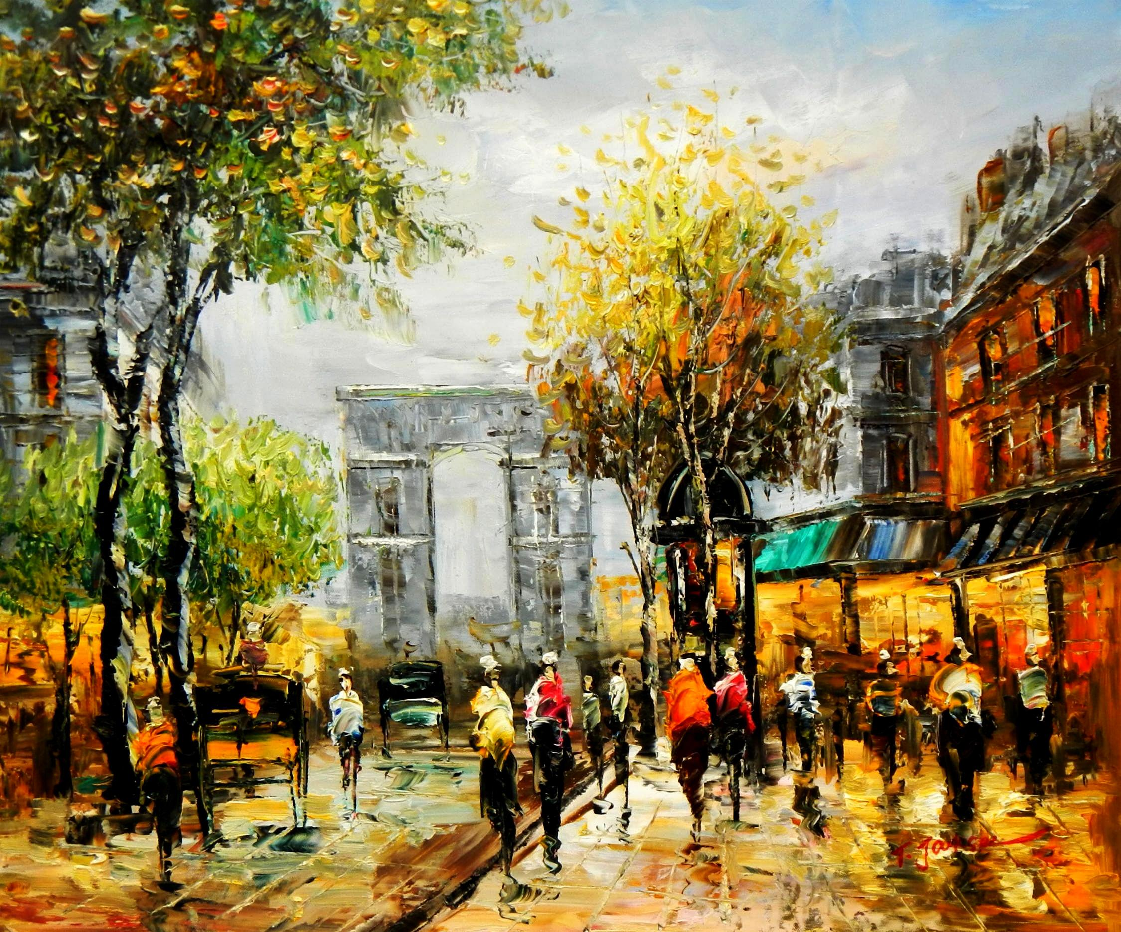 Modern Art - Sommer am Arc de Triomphe Paris c94569 50x60cm Ölbild handgemalt