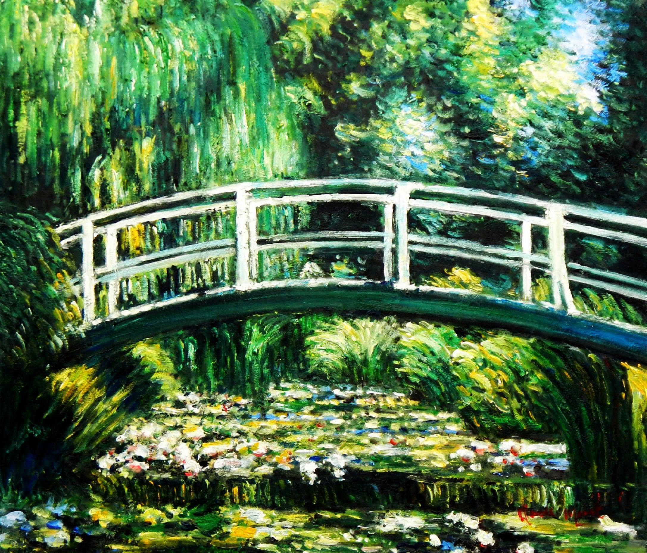Claude Monet - Brücke über dem Seerosenteich c94576 50x60cm Ölbild handgemalt