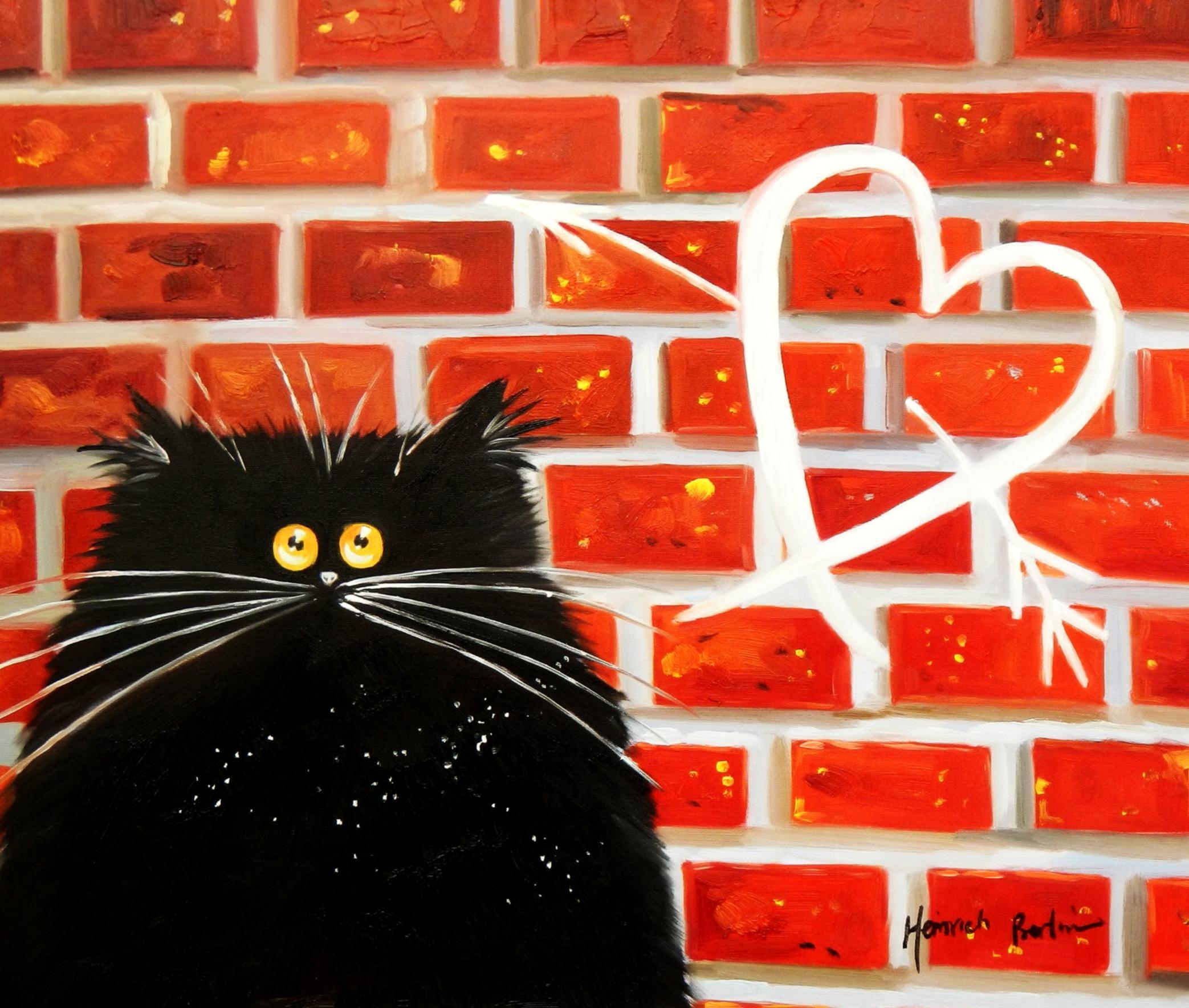 Pop Art - Kater Tom verliebt c94758 50x60cm lustiges Ölbild handgemalt