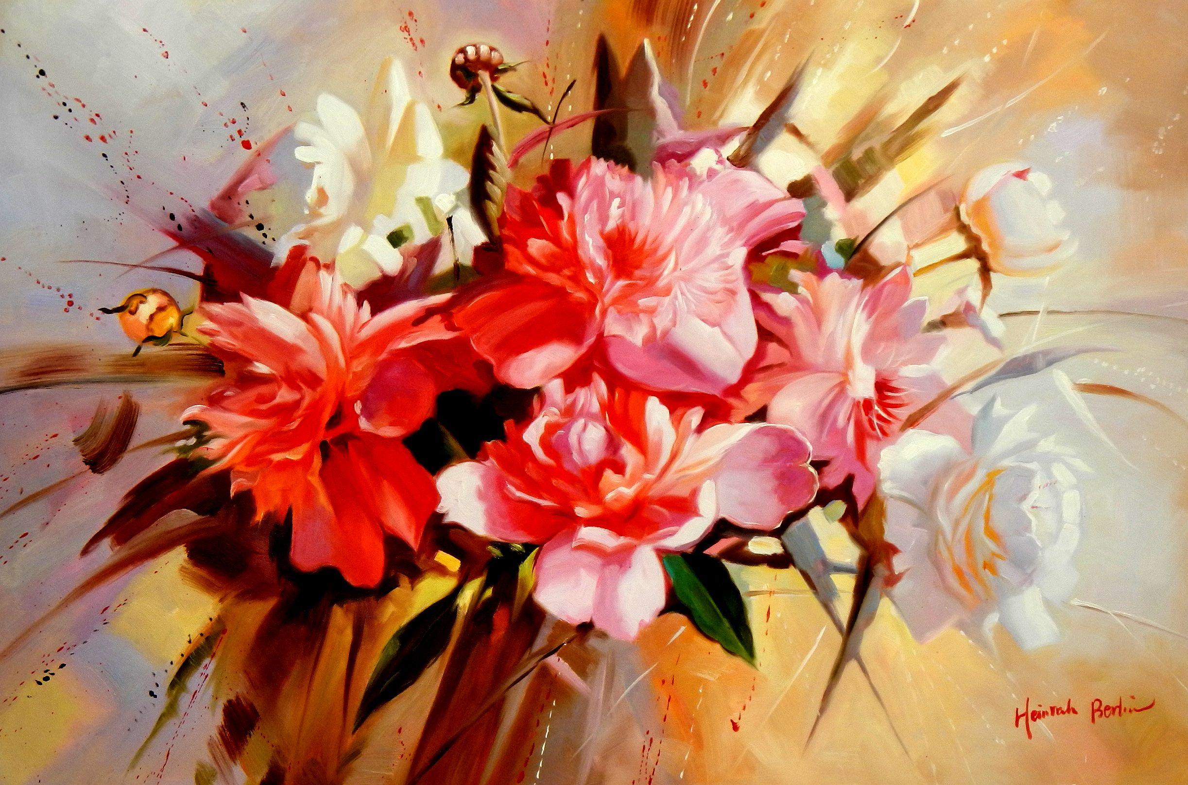 Modern Art - Das Blumenfest d94594 60x90cm handgemaltes Gemälde