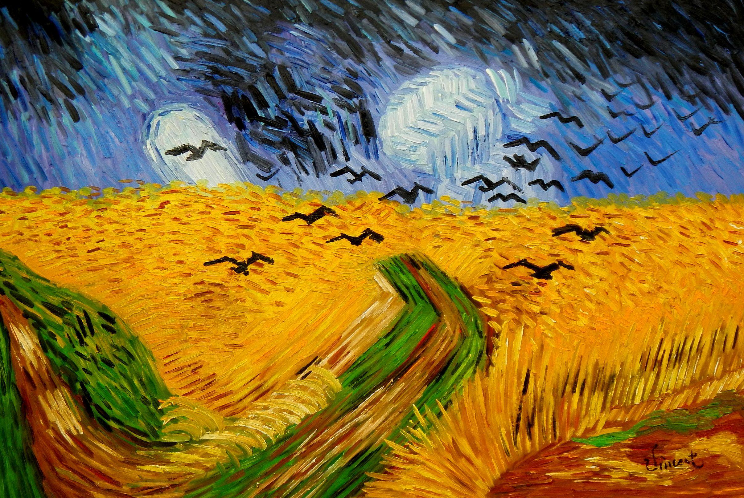 Vincent van Gogh - Kornfeld mit Krähen d94596 60x90cm Ölgemälde handgemalt