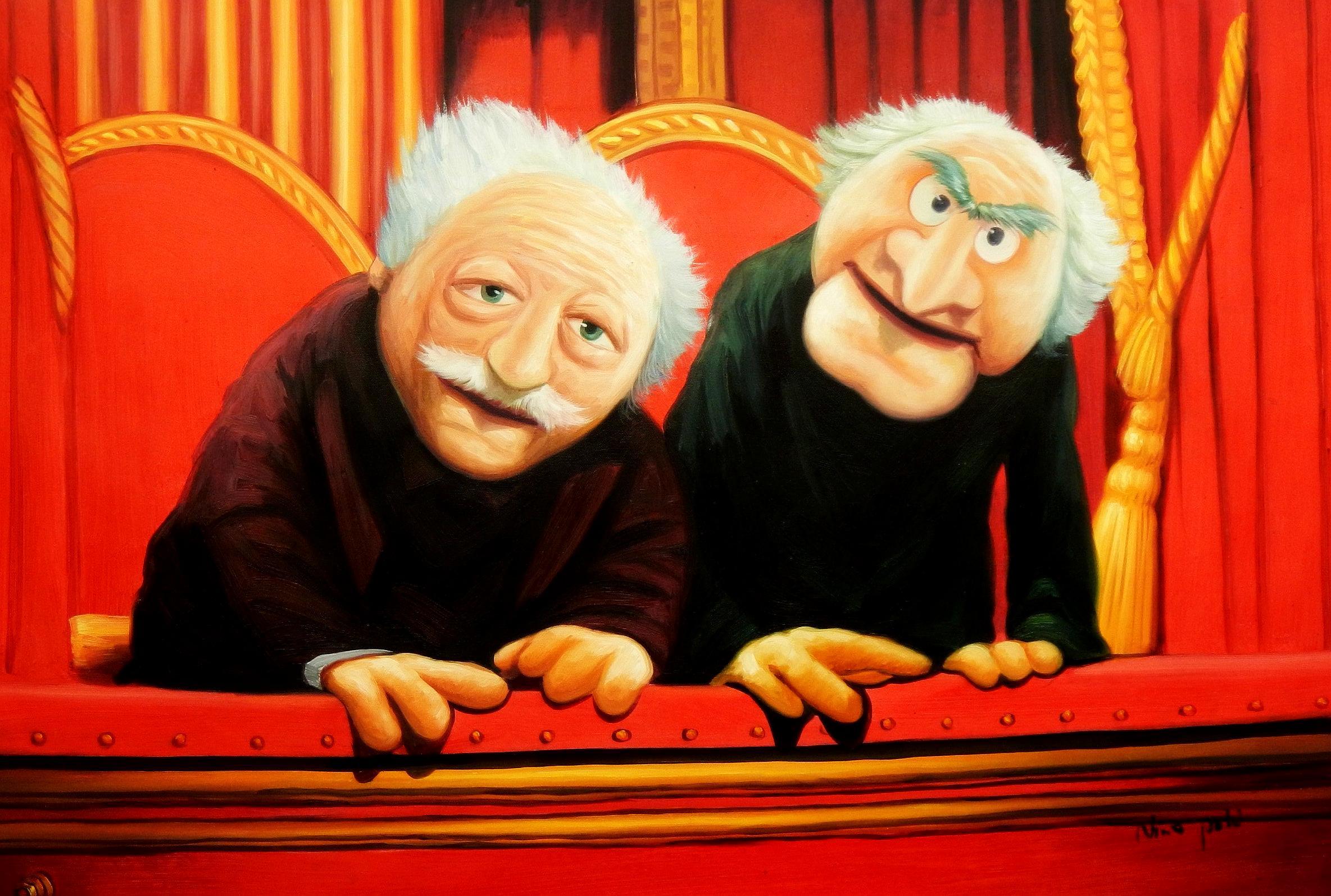 Muppet Opas Waldorf & Statler Pop Art d94601 60x90cm großartiges Ölbild