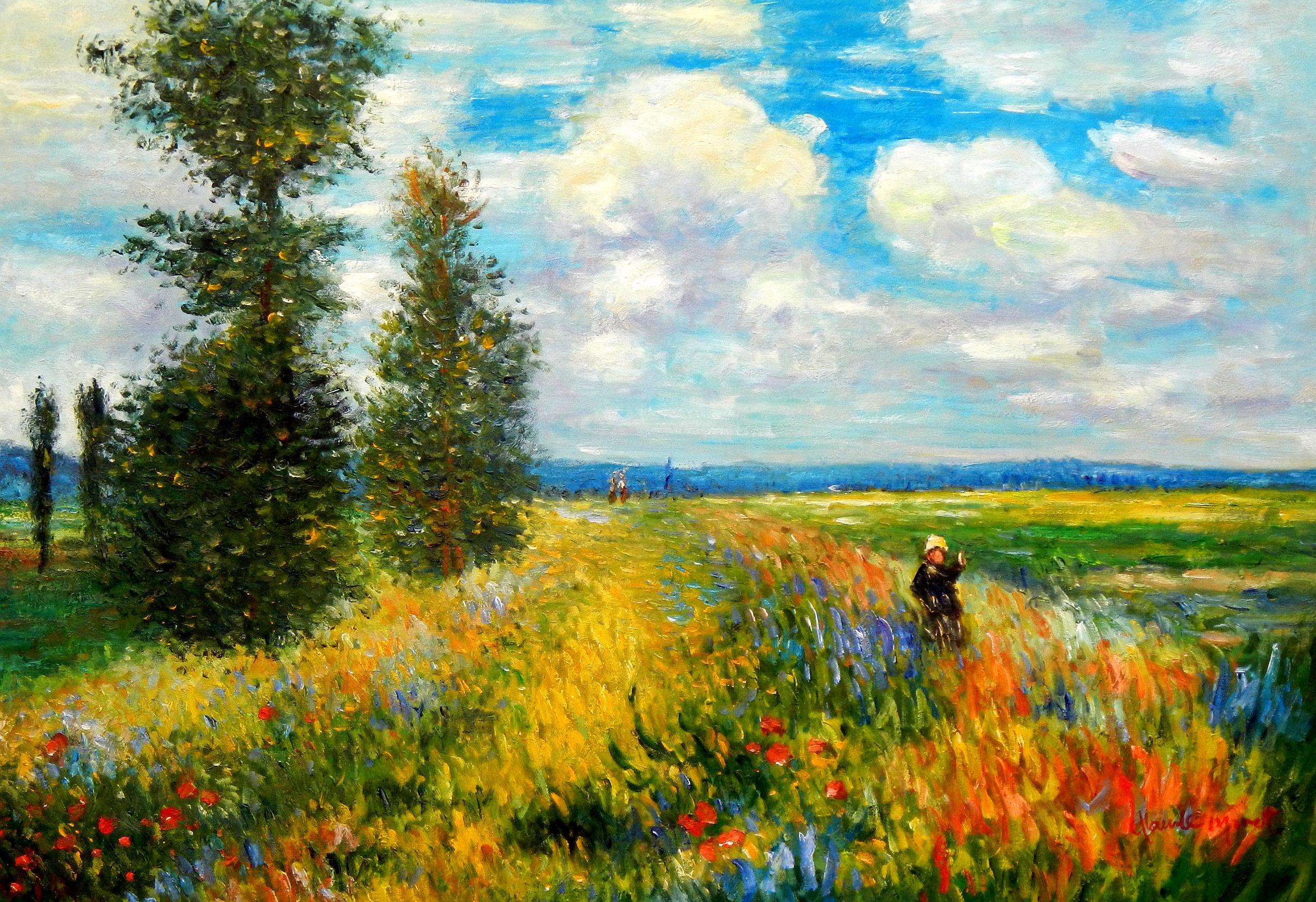Claude Monet - Mohnblumenfeld bei Argenteuil d94607 60x90cm Ölbild handgemalt