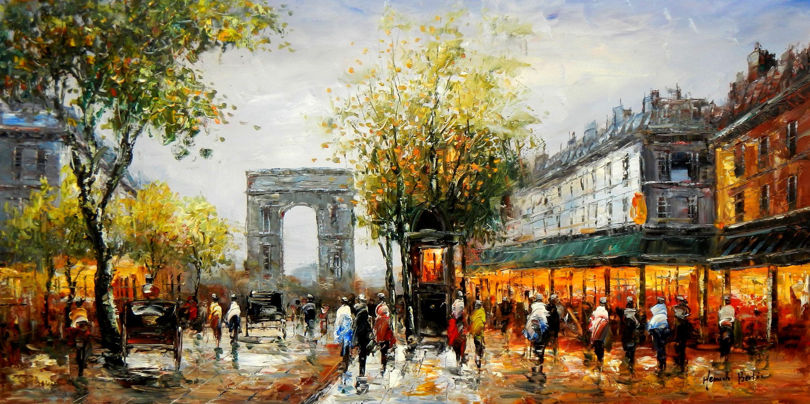 Modern Art - Sommer am Arc de Triomphe Paris f94631 60x120cm Ölbild handgemalt