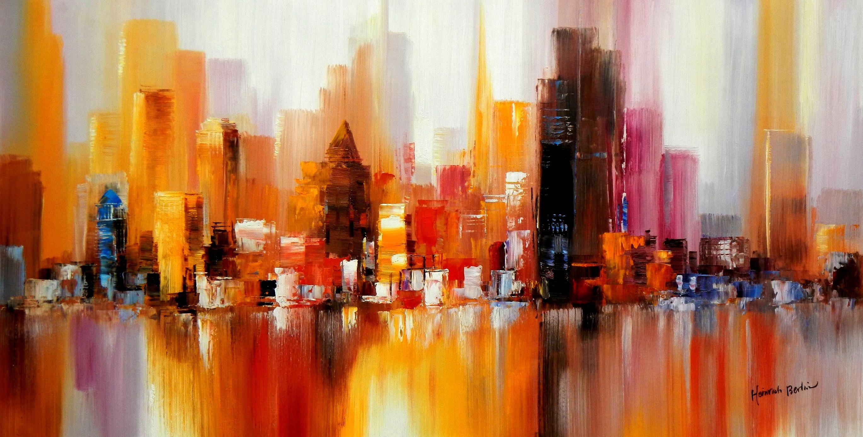 Abstrakt New York Manhattan Skyline im Frühling f94639 60x120cm eindrucksvolles Gemälde handgemalt