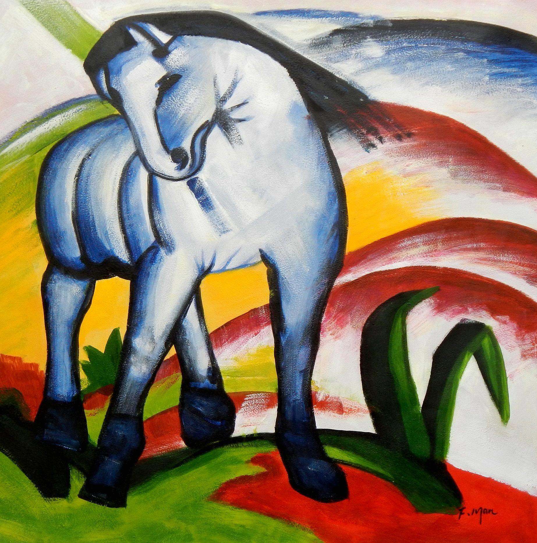 Franz Marc - Blaues Pferd g94400 80x80cm Expressionismus Ölgemälde