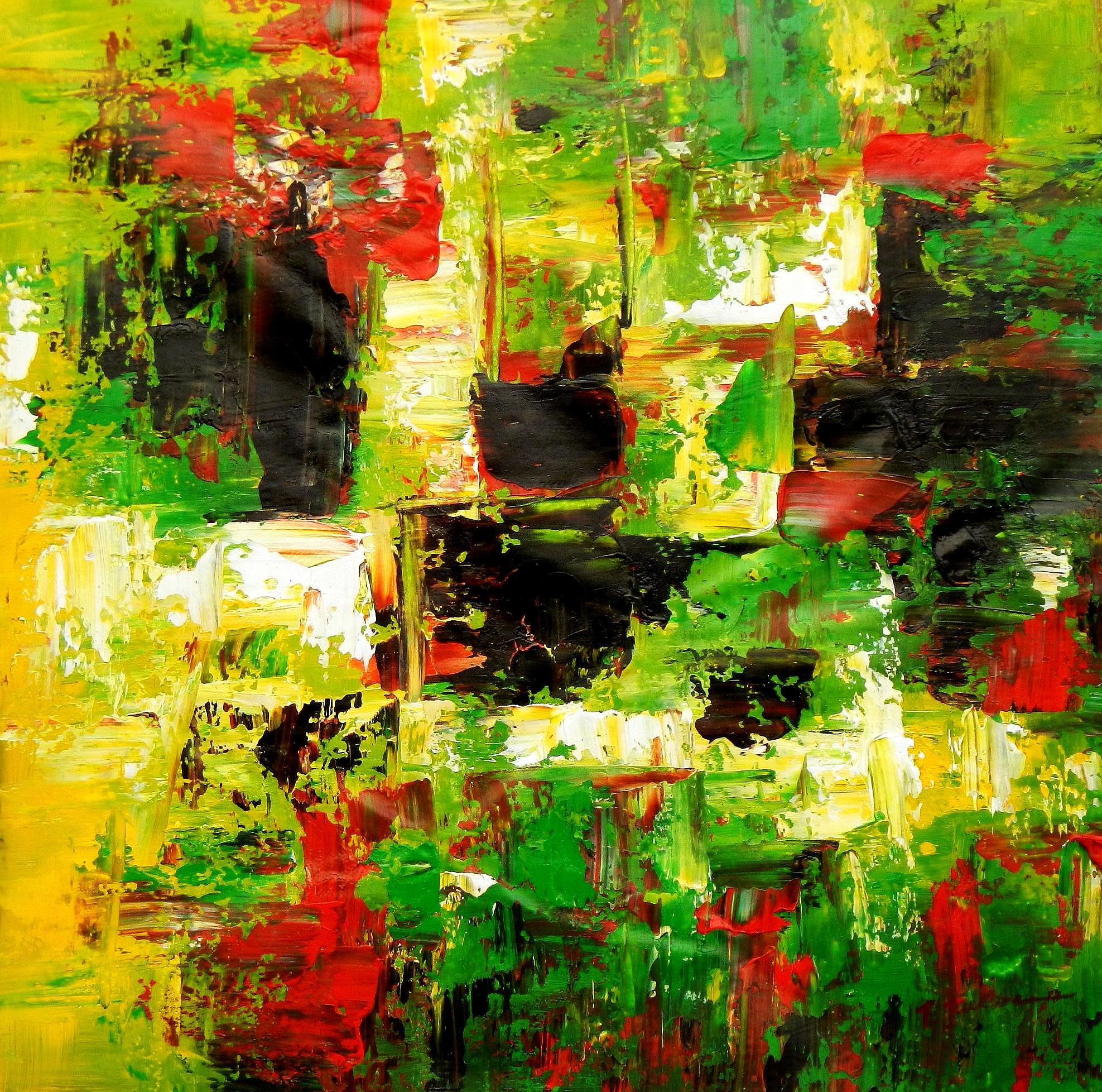 Abstrakt - Berlin Tiergarten g94656 80x80cm Ölgemälde handgemalt