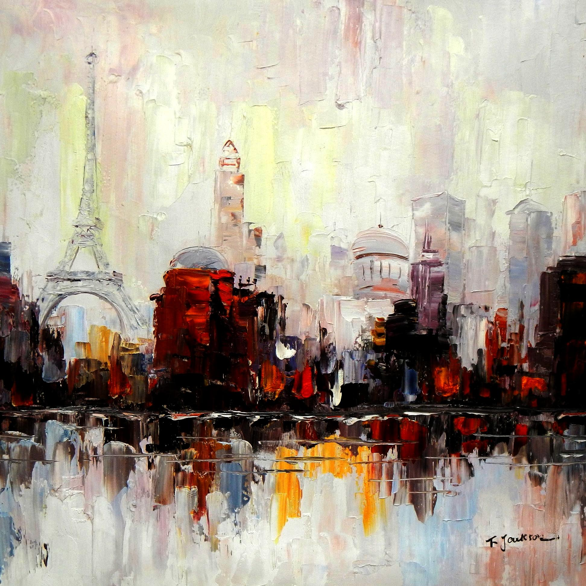 Modern Art - Pariser Skyline g94668 80x80cm Ölbild handgemalt