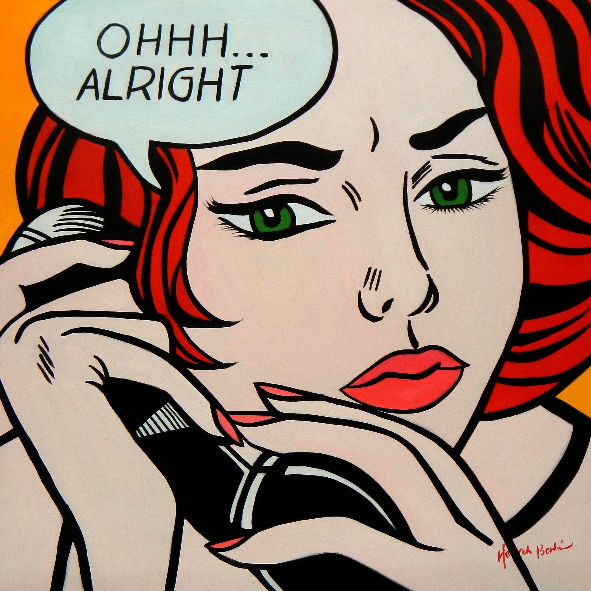 Homage to Roy Lichtenstein - Alright g94672 80x80cm exzellentes Ölgemälde
