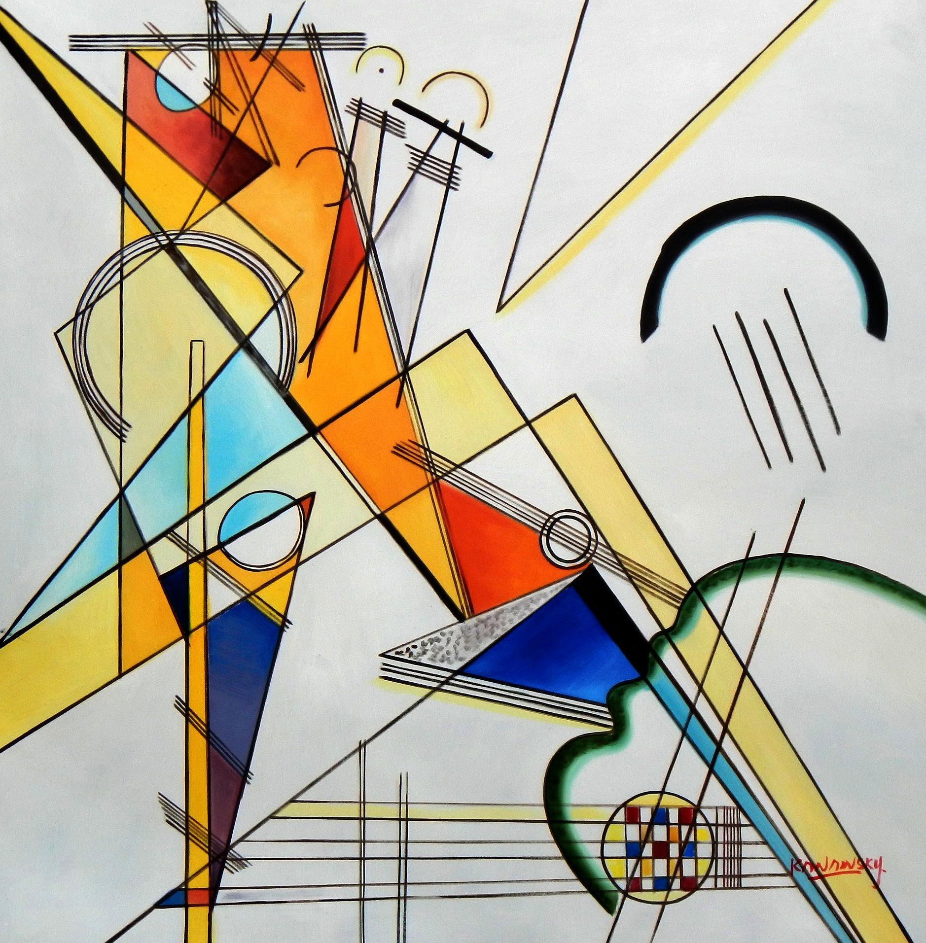Wassily Kandinsky - Gewebe h94674 90x90cm beeindruckendes Ölbild