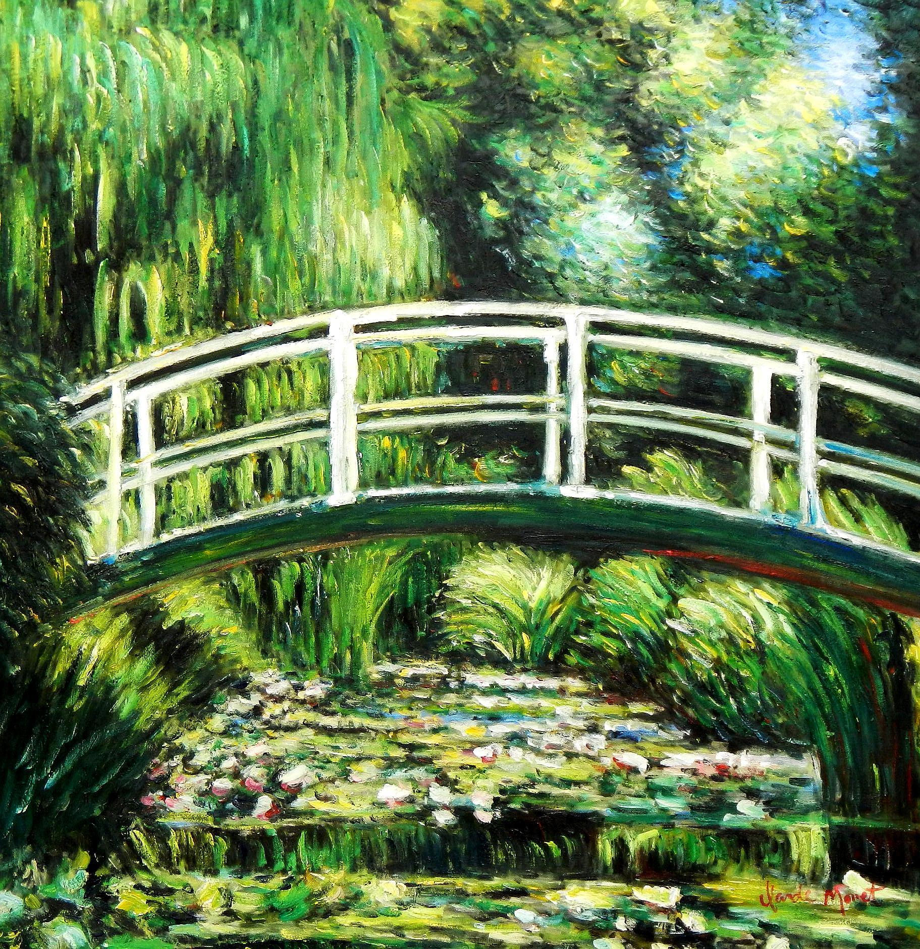 Claude Monet - Brücke über dem Seerosenteich h94675 90x90cm Ölbild handgemalt