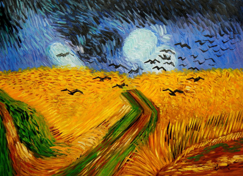 Vincent van Gogh - Kornfeld mit Krähen i94680 80x110cm Ölgemälde handgemalt