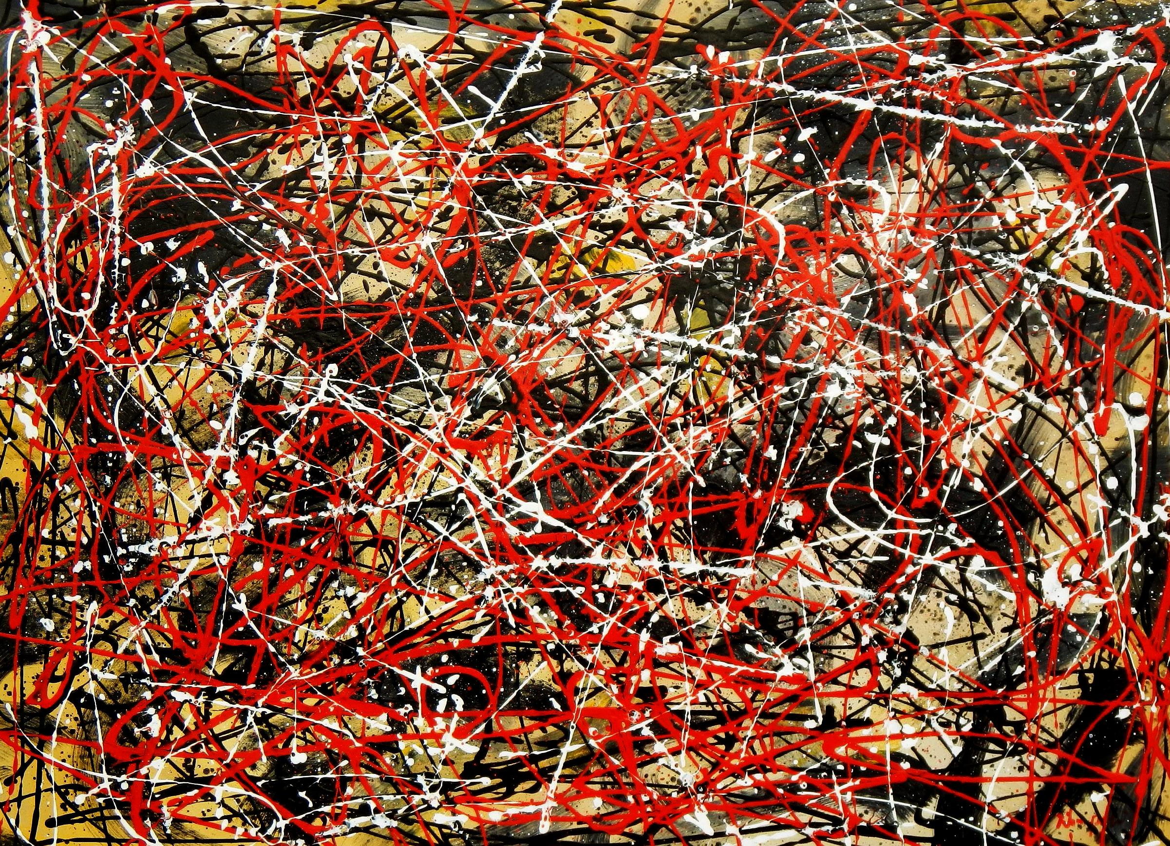 Homage of Pollock - Number 2 i94683 80x110cm abstraktes Ölbild