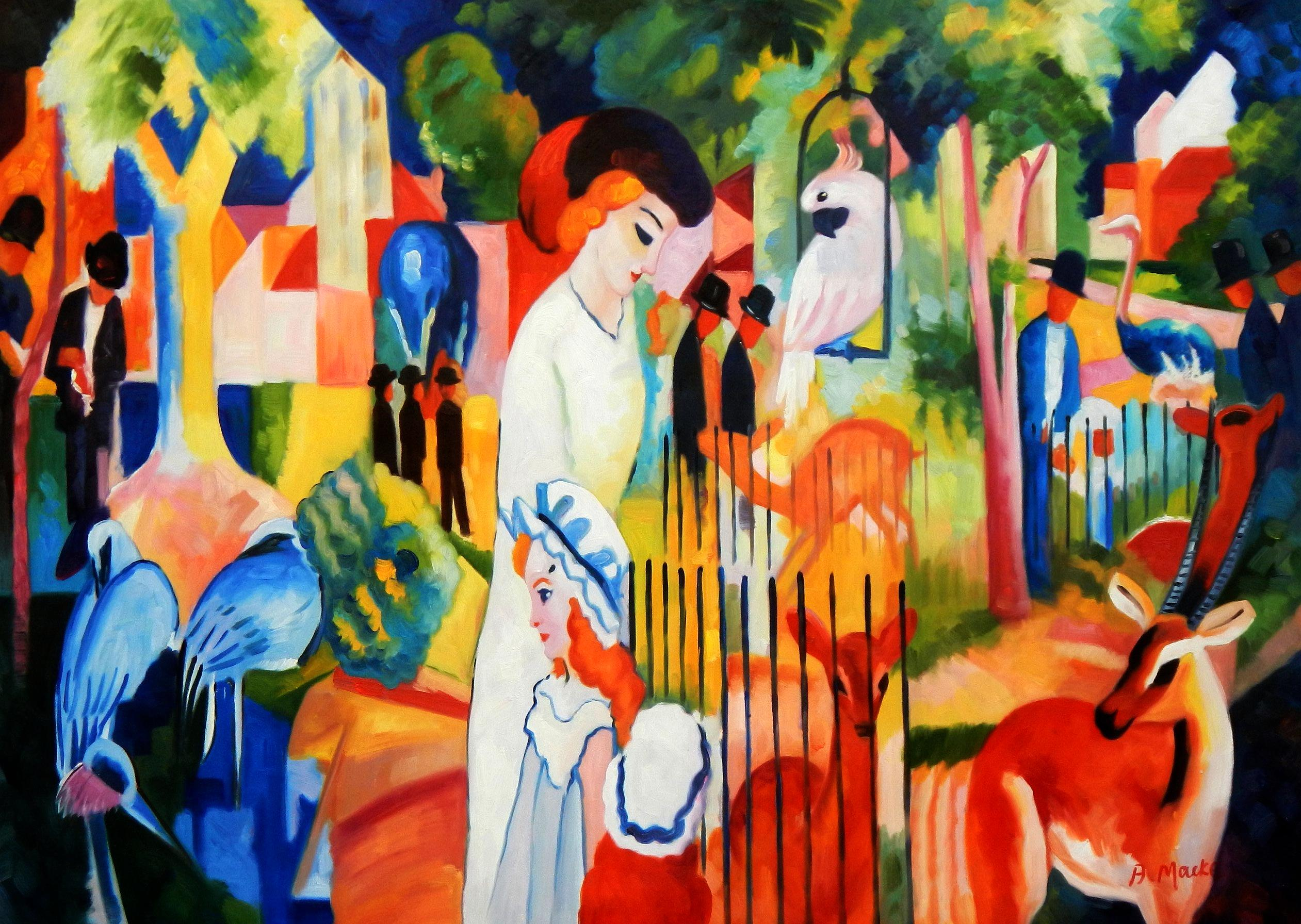 August Macke - Großer Zoologischer Garten i94698 80x110cm Ölbild handgemalt