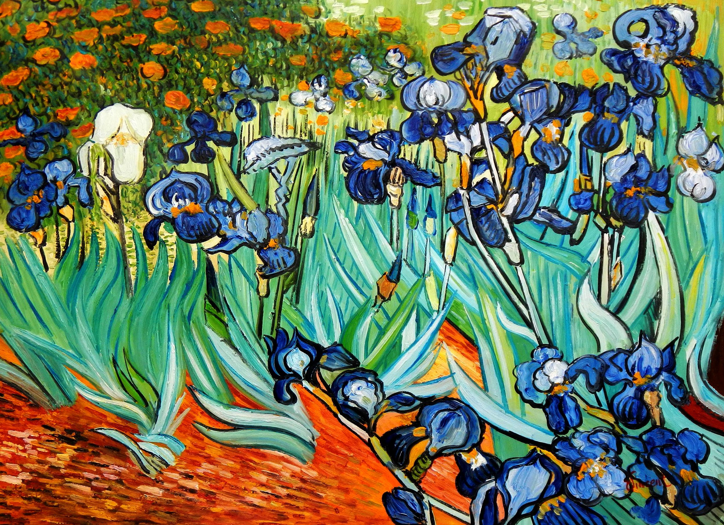 Vincent van Gogh - Blaue Iris i94699 80x110cm exzellentes Ölgemälde handgemalt
