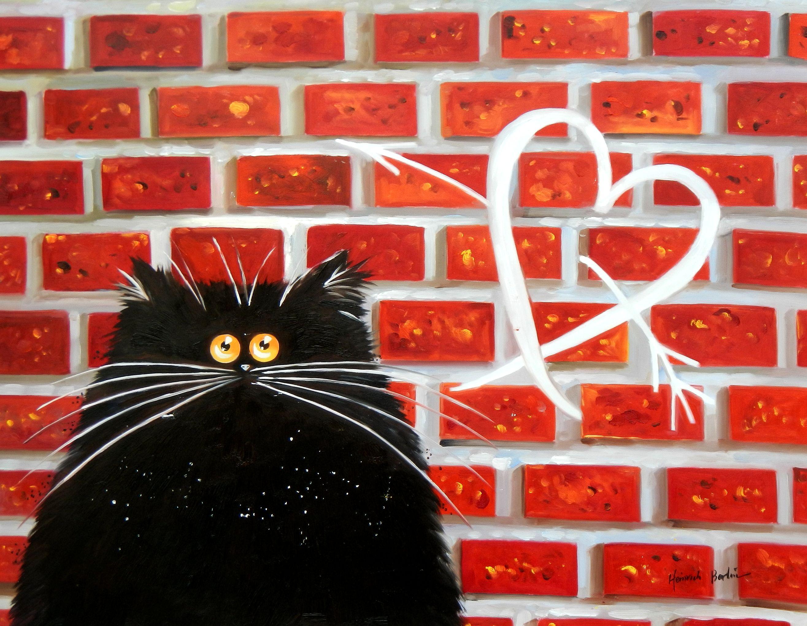 Pop Art - Kater Tom verliebt i94775 80x110cm lustiges Ölbild handgemalt