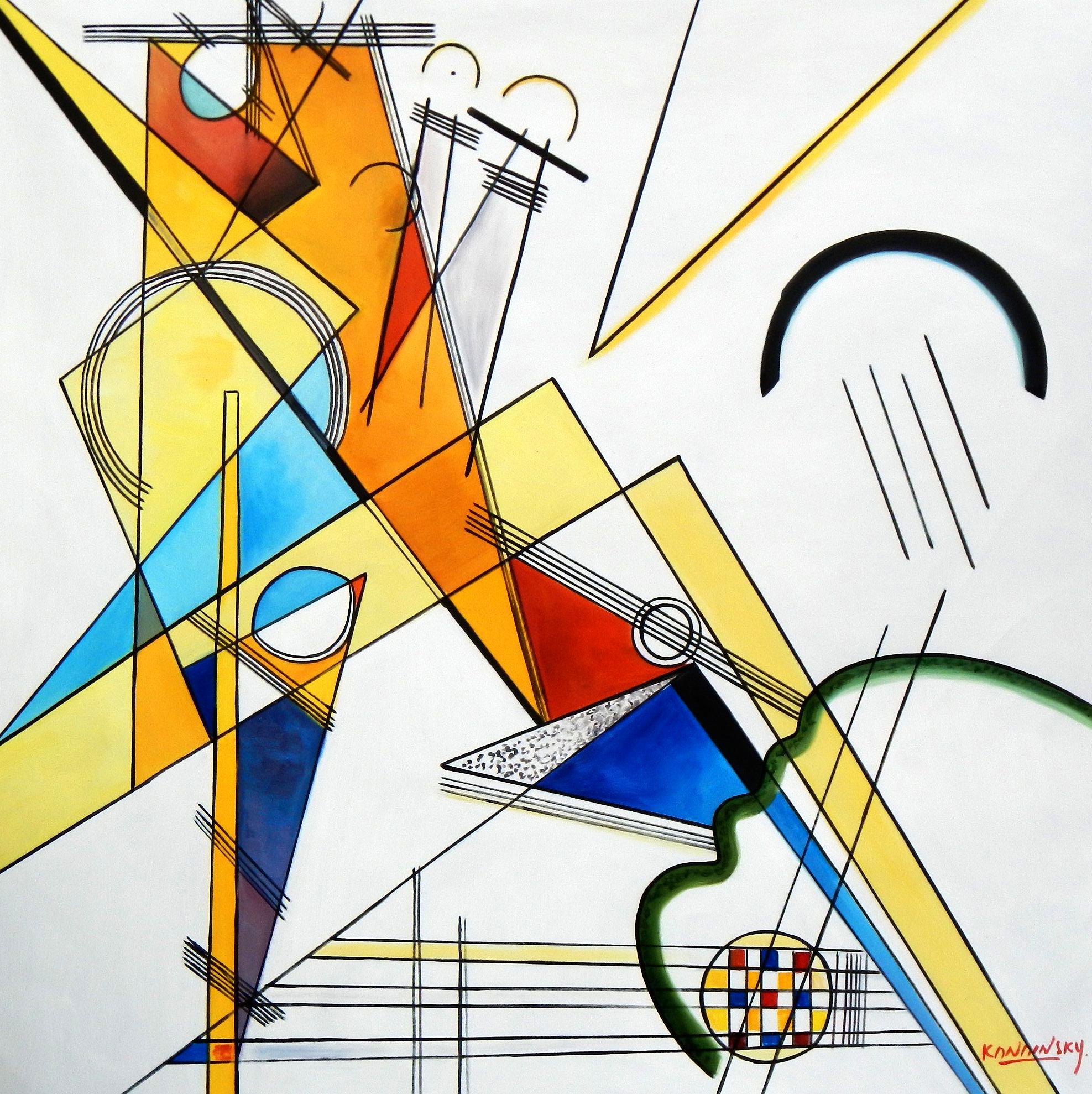 Wassily Kandinsky - Gewebe m94722 120x120cm beeindruckendes Ölbild