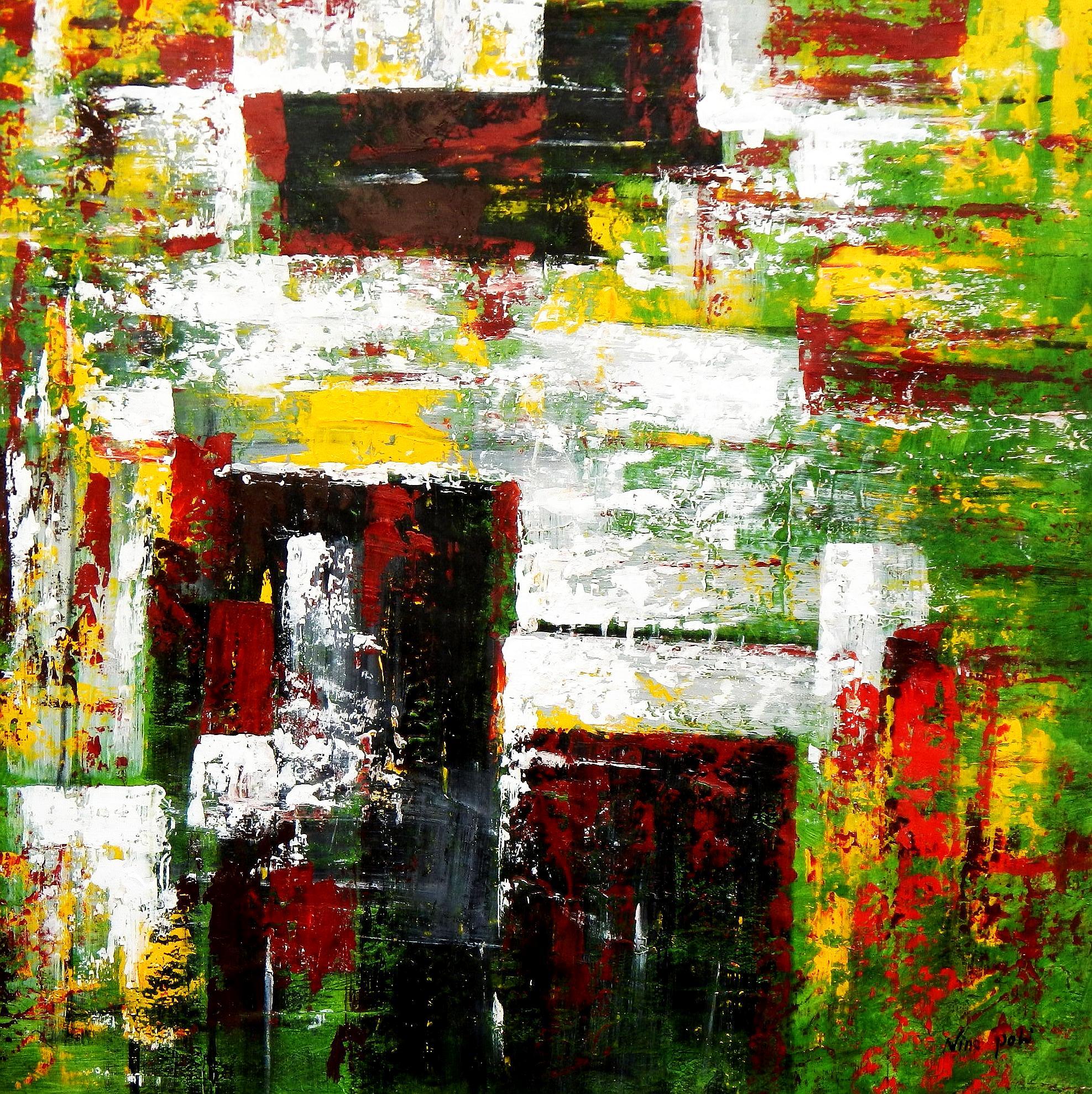 Abstrakt - Berlin Tiergarten m94724 120x120cm abstraktes Ölbild handgemalt