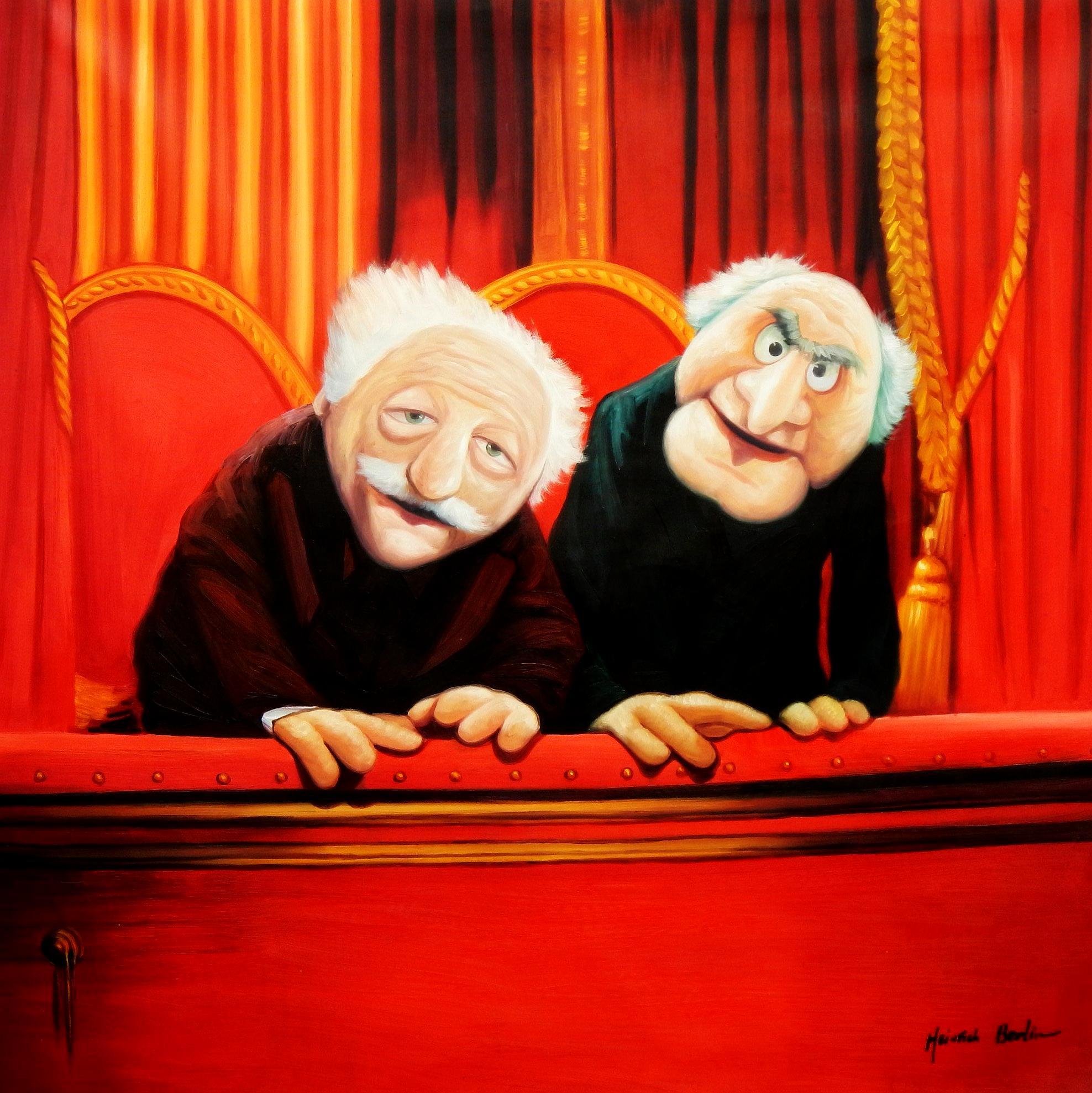 Muppet Opas Waldorf & Statler Pop Art m94725 120x120cm großartiges Ölbild