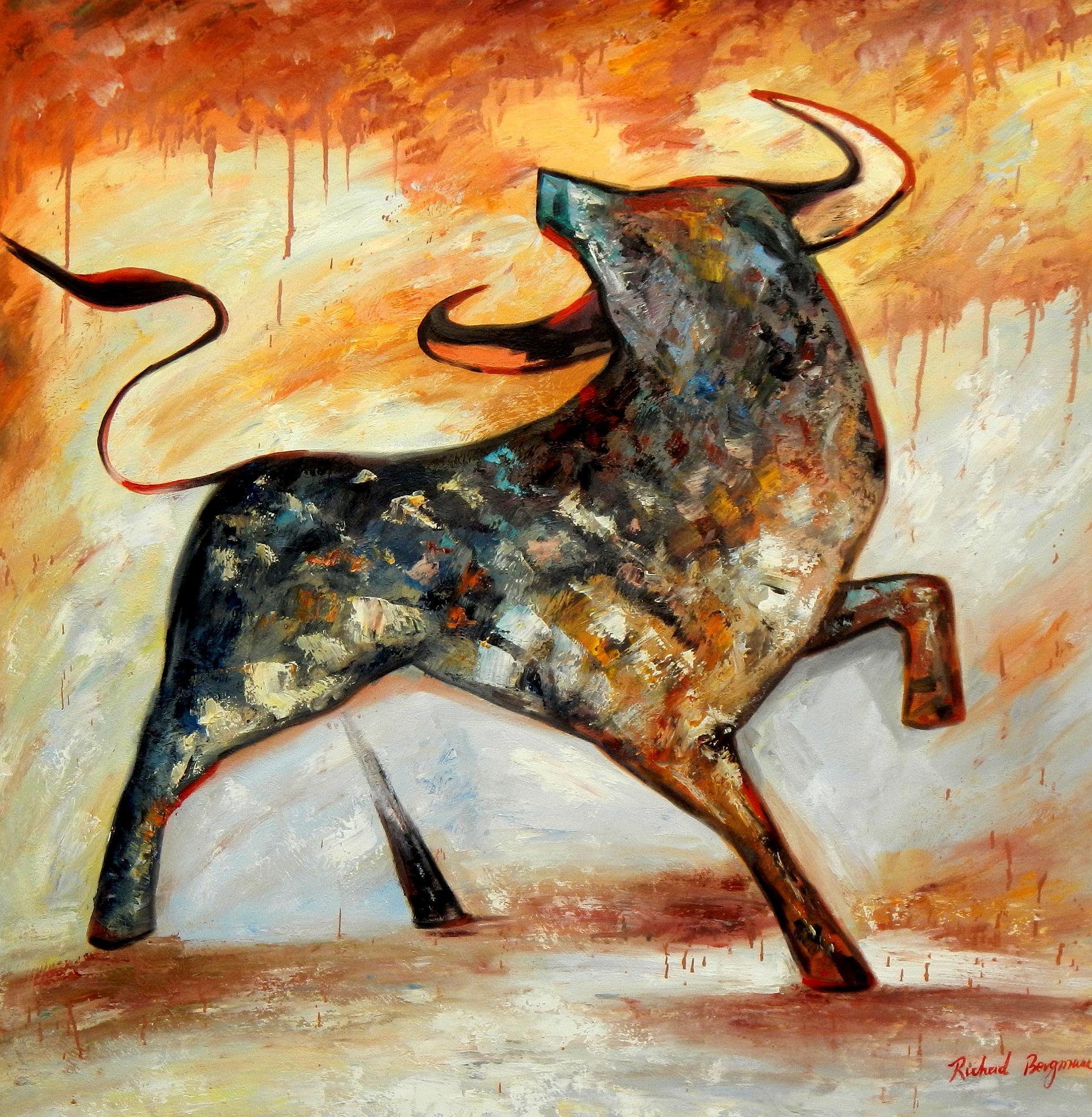 Abstrakt - Kür eines Stiers m94726 120x120cm abstraktes Gemälde