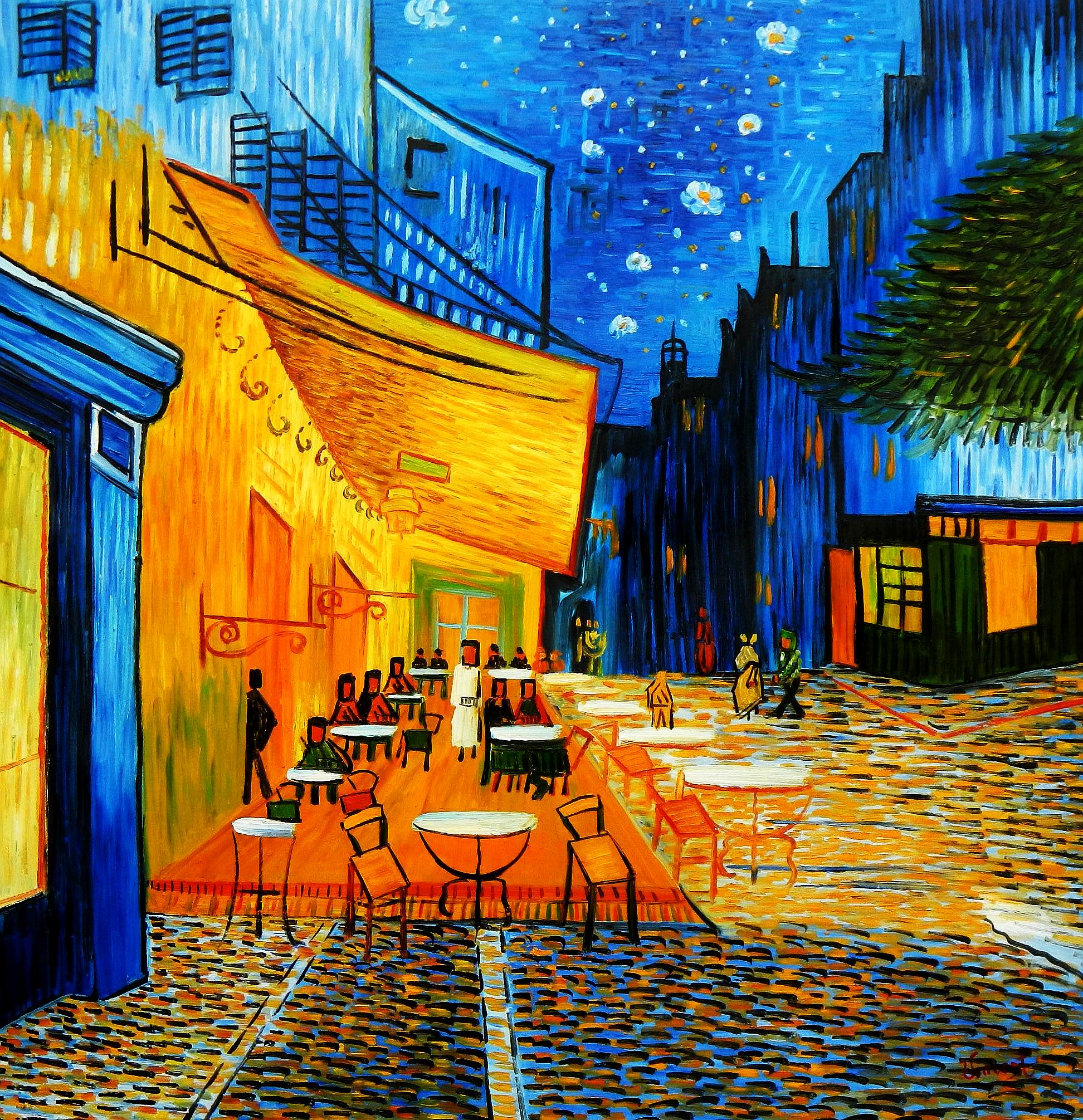 Vincent van Gogh - Nachtcafe m94728 120x120cm exzellentes Ölgemälde handgemalt