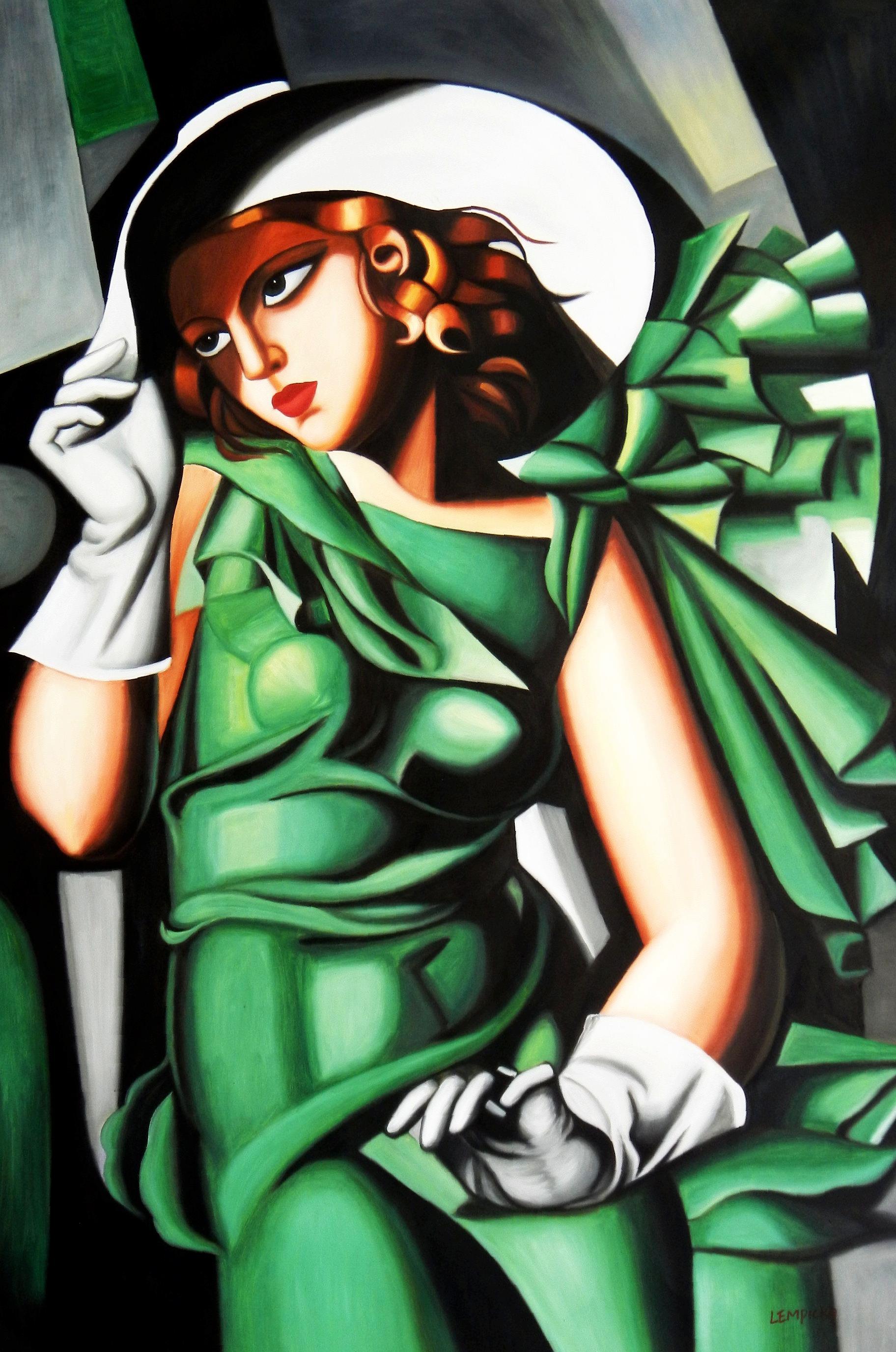 Homage to T. de Lempicka - Mädchen in Grün mit Handschuhen p94732 120x180cm Ölbild