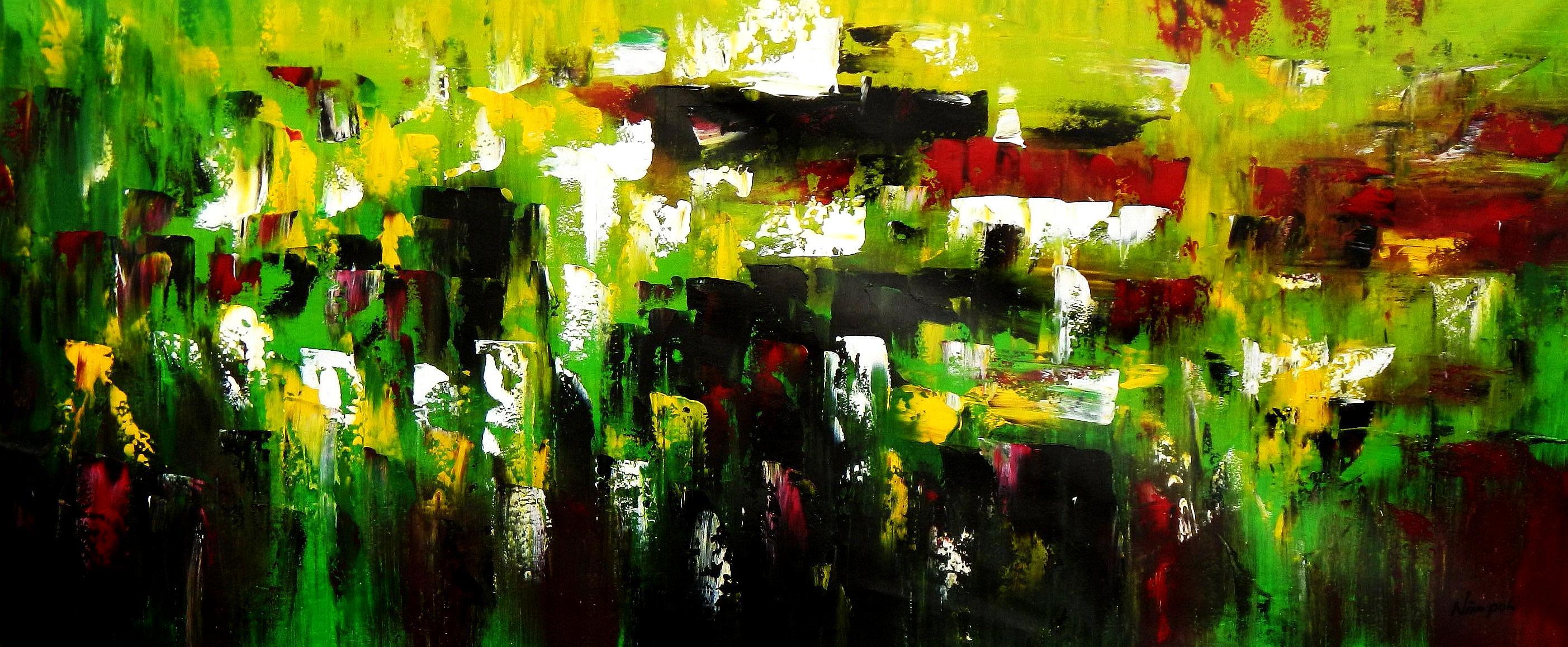 Abstrakt - Berlin Tiergarten t94748 75x180cm abstraktes Ölbild handgemalt
