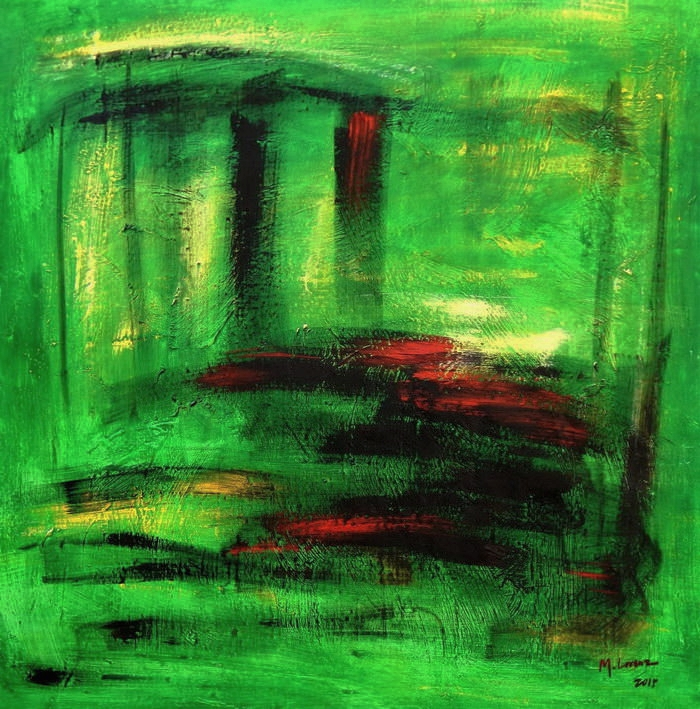 Abstract - Venice twilight g90668 80x80cm abstraktes Ölgemälde handgemalt