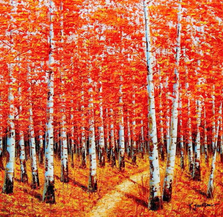Modern Art - Birkenhain im Herbst g90678 80x80cm exzellentes Ölbild handgemalt