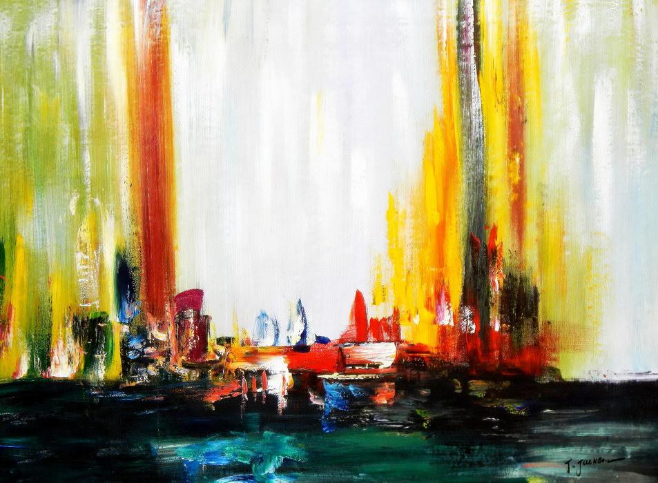 Abstrakt - Modern Art Wolkenlos i90755 80x110cm abstraktes Ölgemälde ...
