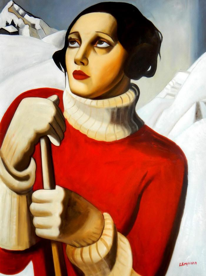 Homage to T. Lempicka - Sain Moritz k90804 G 90x120cm handgemaltes Gemälde